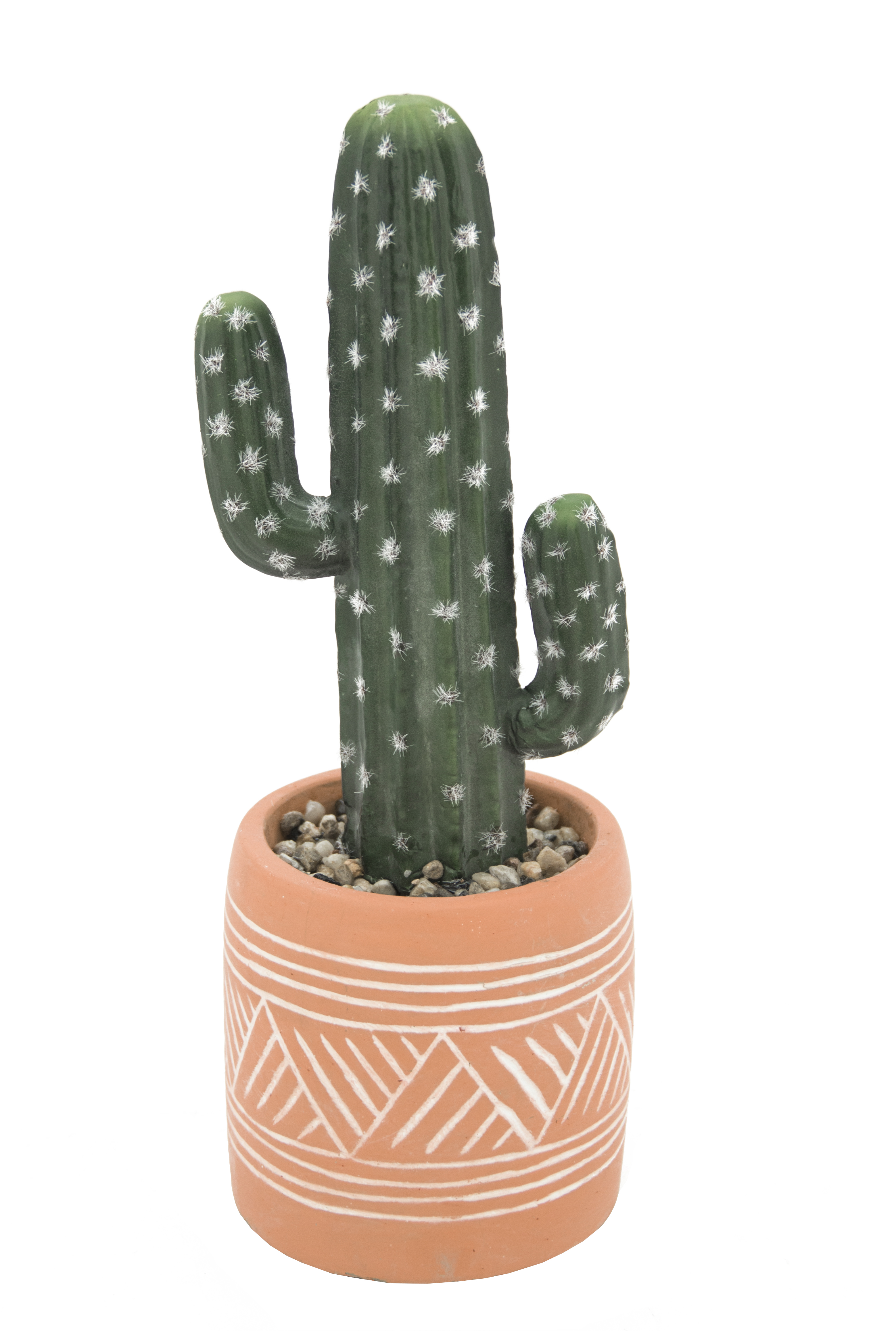 Cactus artificiel en pot ethnique en terracotta 29cm