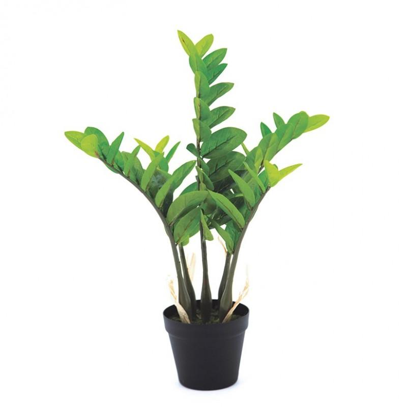 Zamioculcas artificiel 5 branches pot noir 64cm