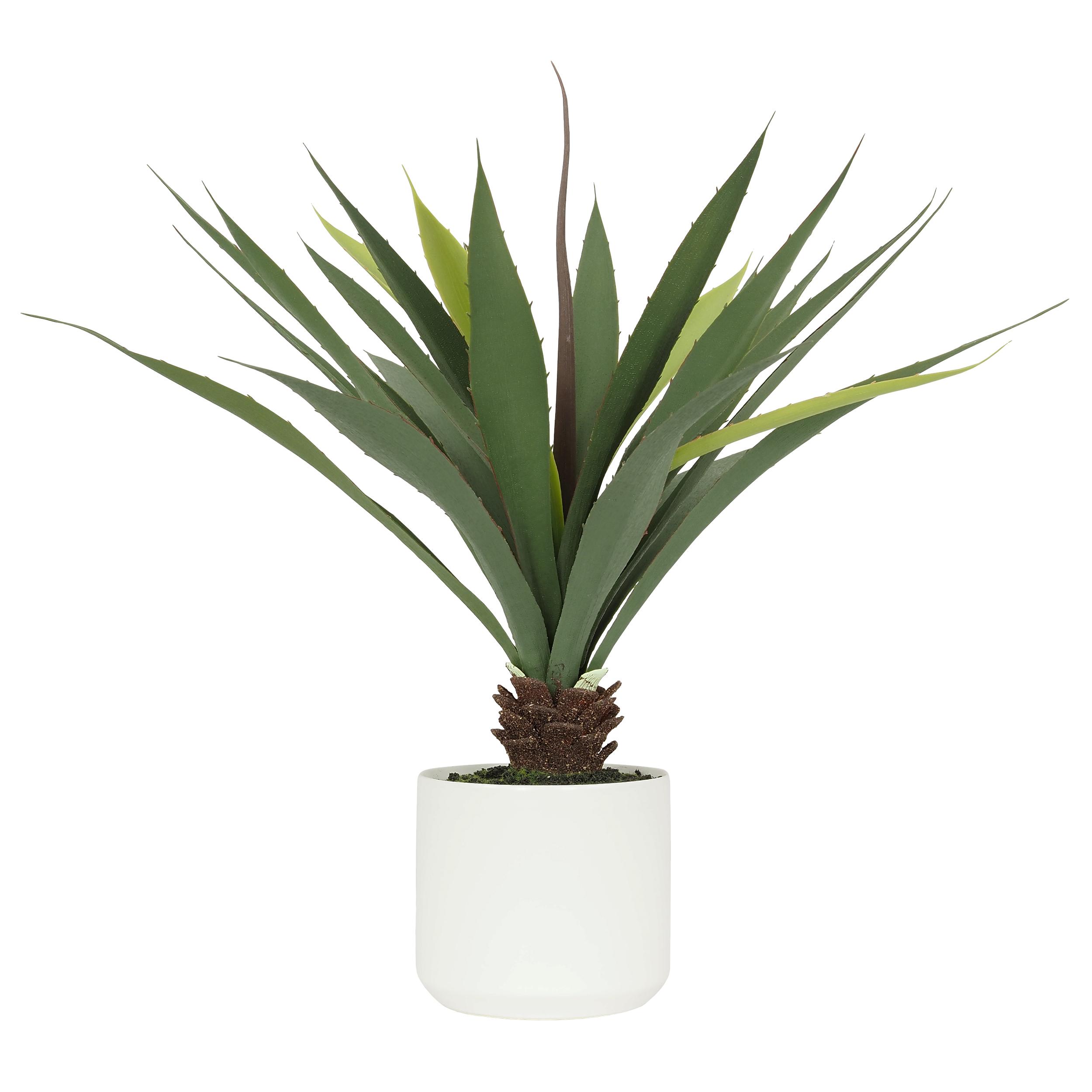 Aloe artificielle pot céramique blanc 50 cm