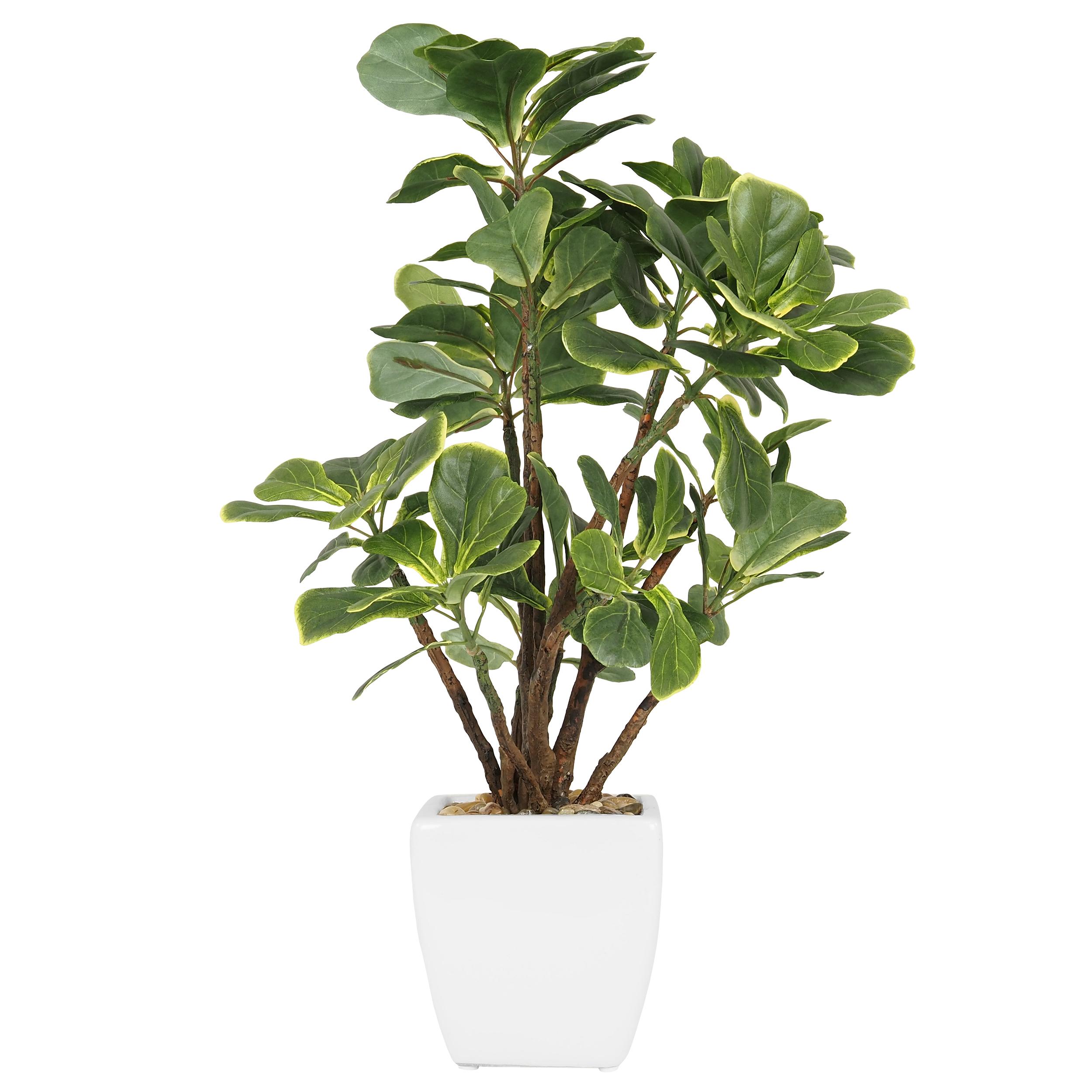Ficus lyrata artificiel en pot céramique blanc 54cm