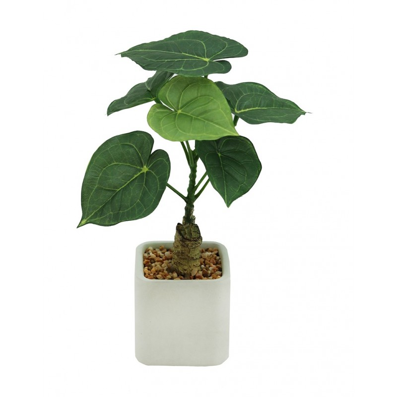 Plante philodendron artificielle pot céramique carré blanc mat 26cm