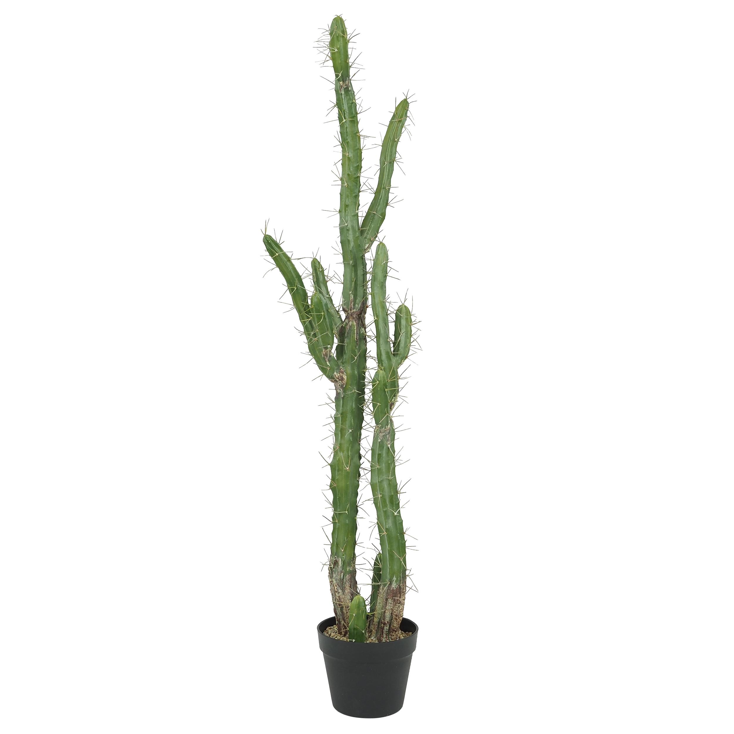 Cactus artificiel géant pot noir Plante verte artificielle 119 cm