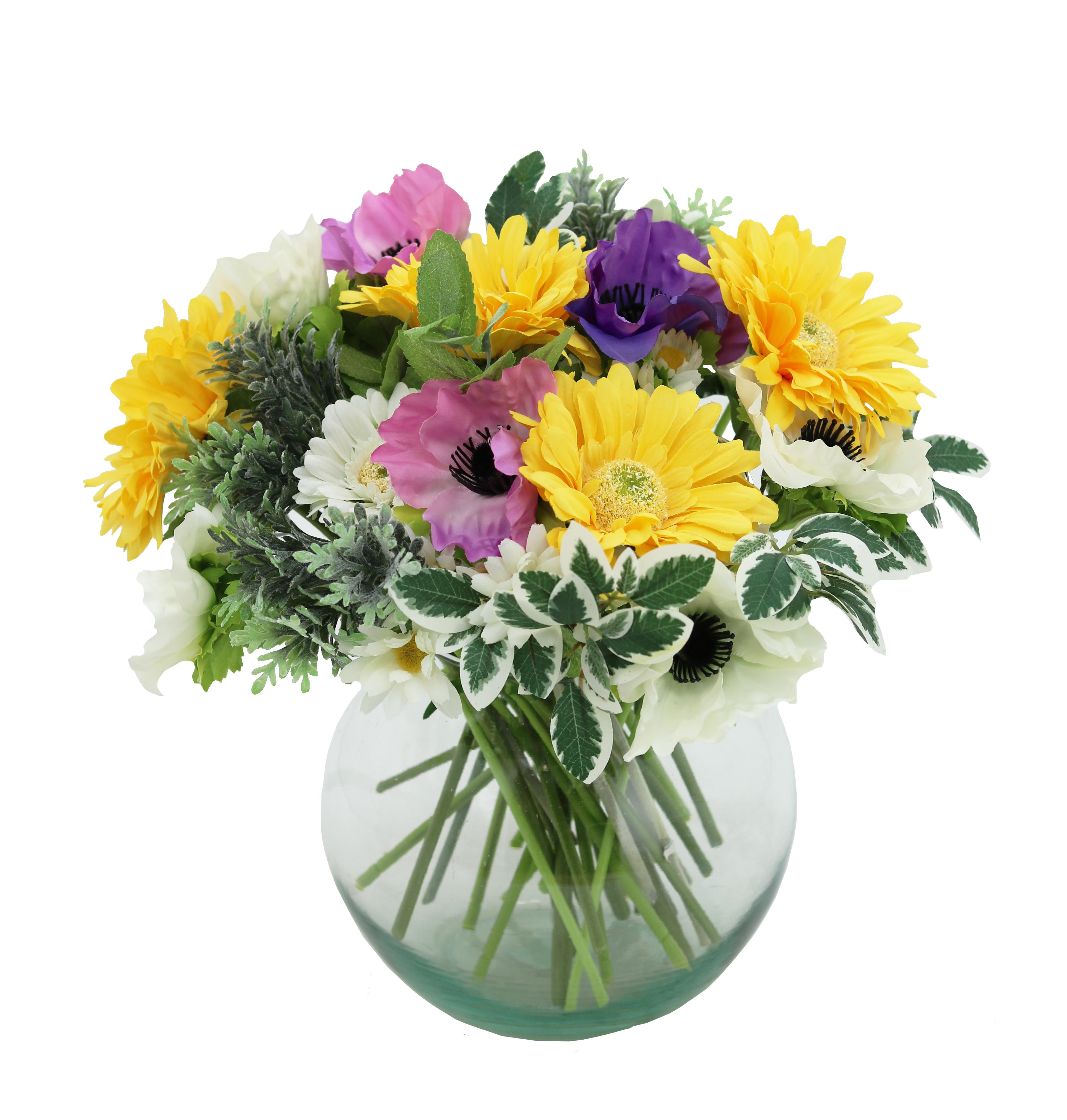 Bouquet champêtre artificiel de 36 tiges de fleurs multicolores 28cm