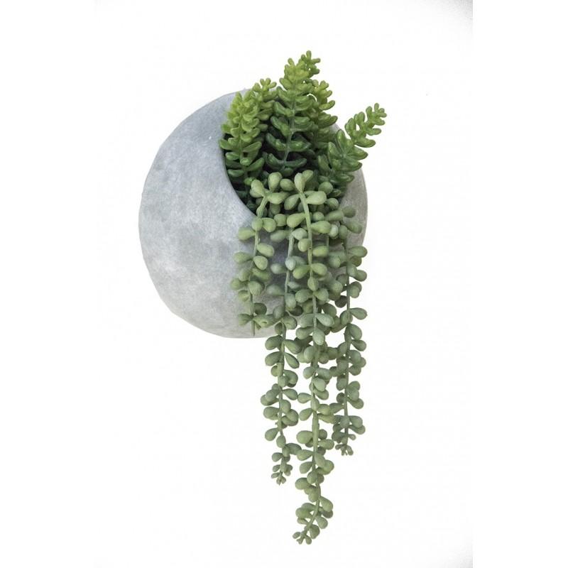 Succulentes artificielles en pot ciment 34cm