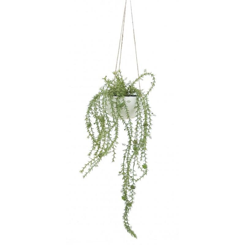 Suspension de plante grasse retombante artificielle pot blanc 65cm