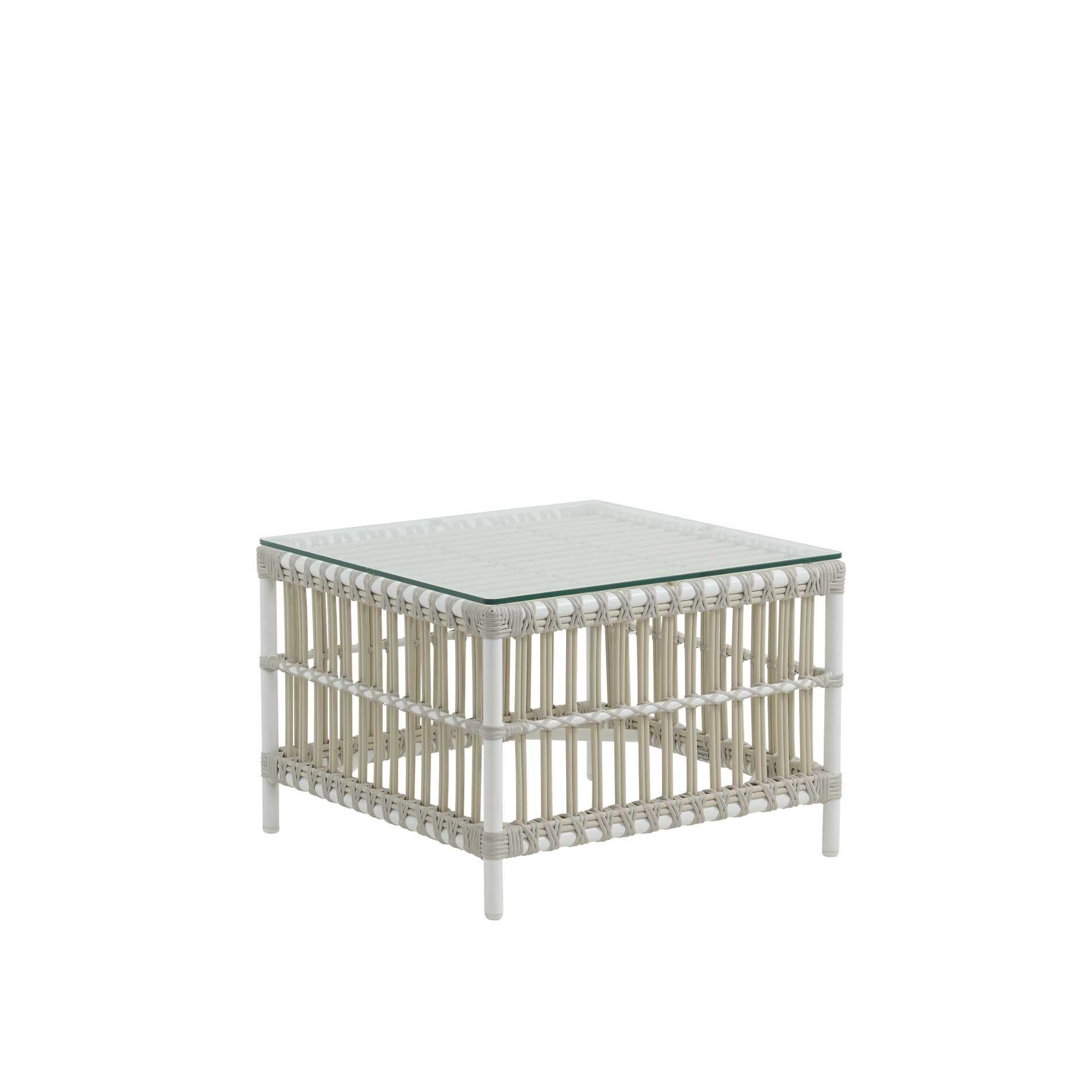 Table basse carrée en aluminium et fibre synthétique blanc