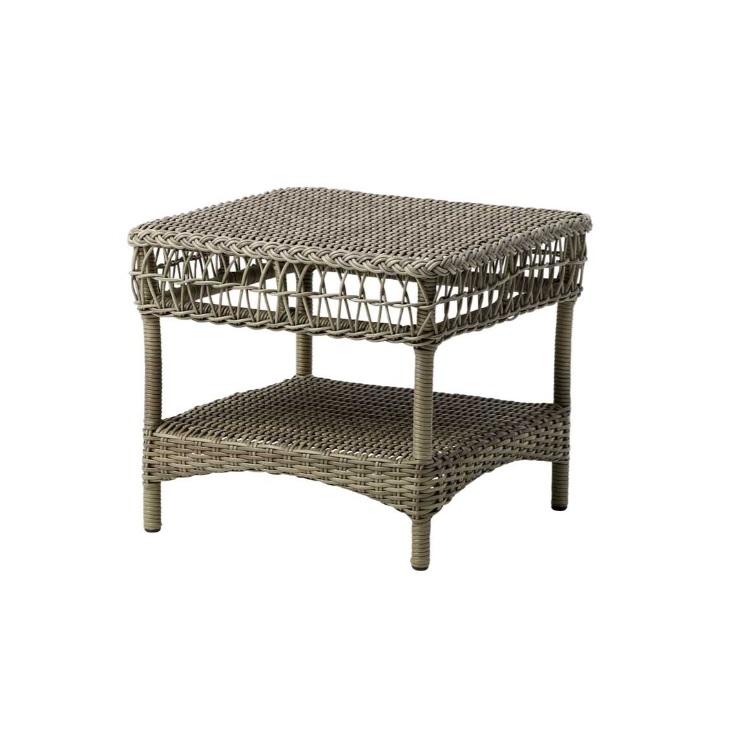 Table basse carrée en aluminium et fibre synthétique taupe
