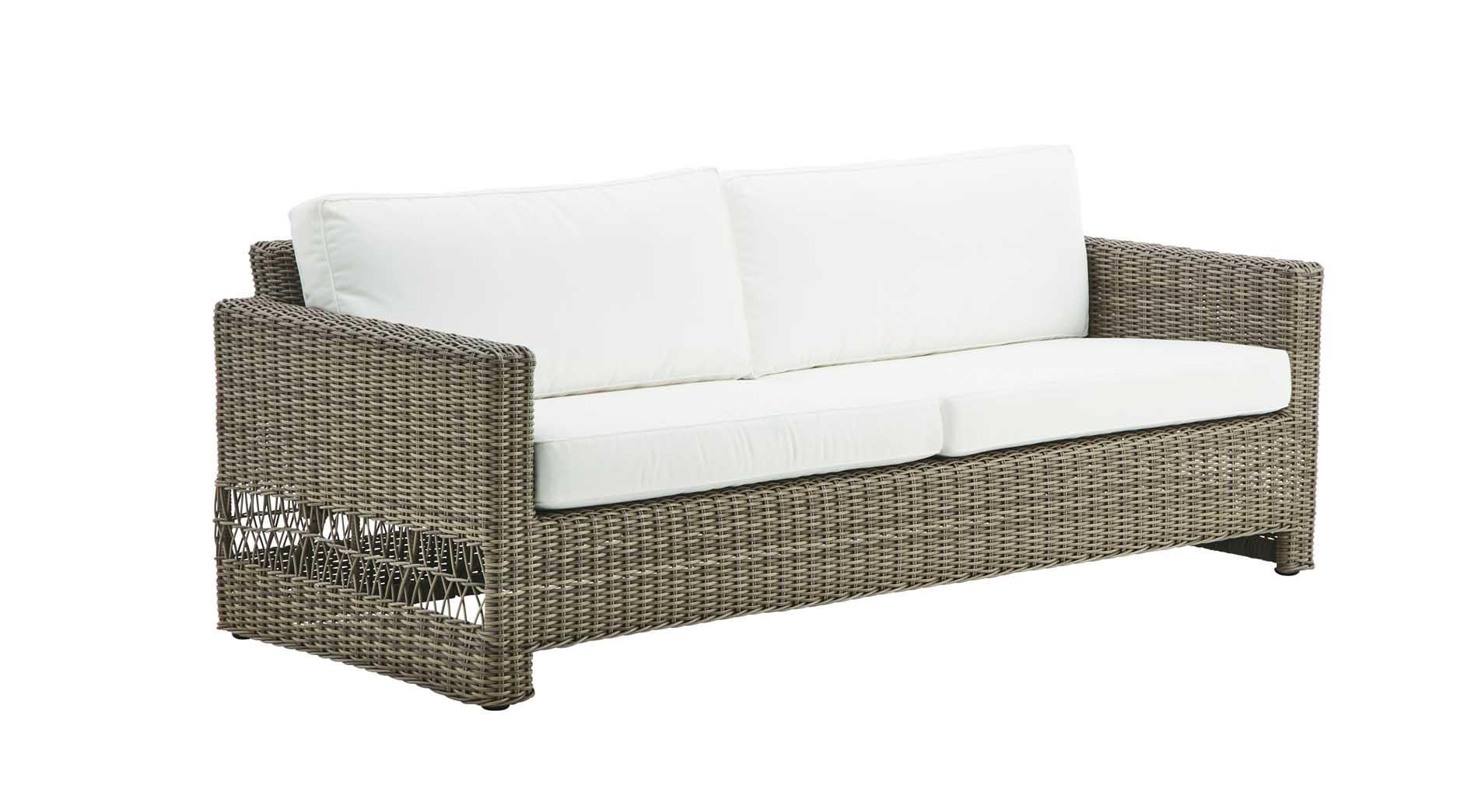 Canapé 3 places en aluminium et fibre synthétique taupe