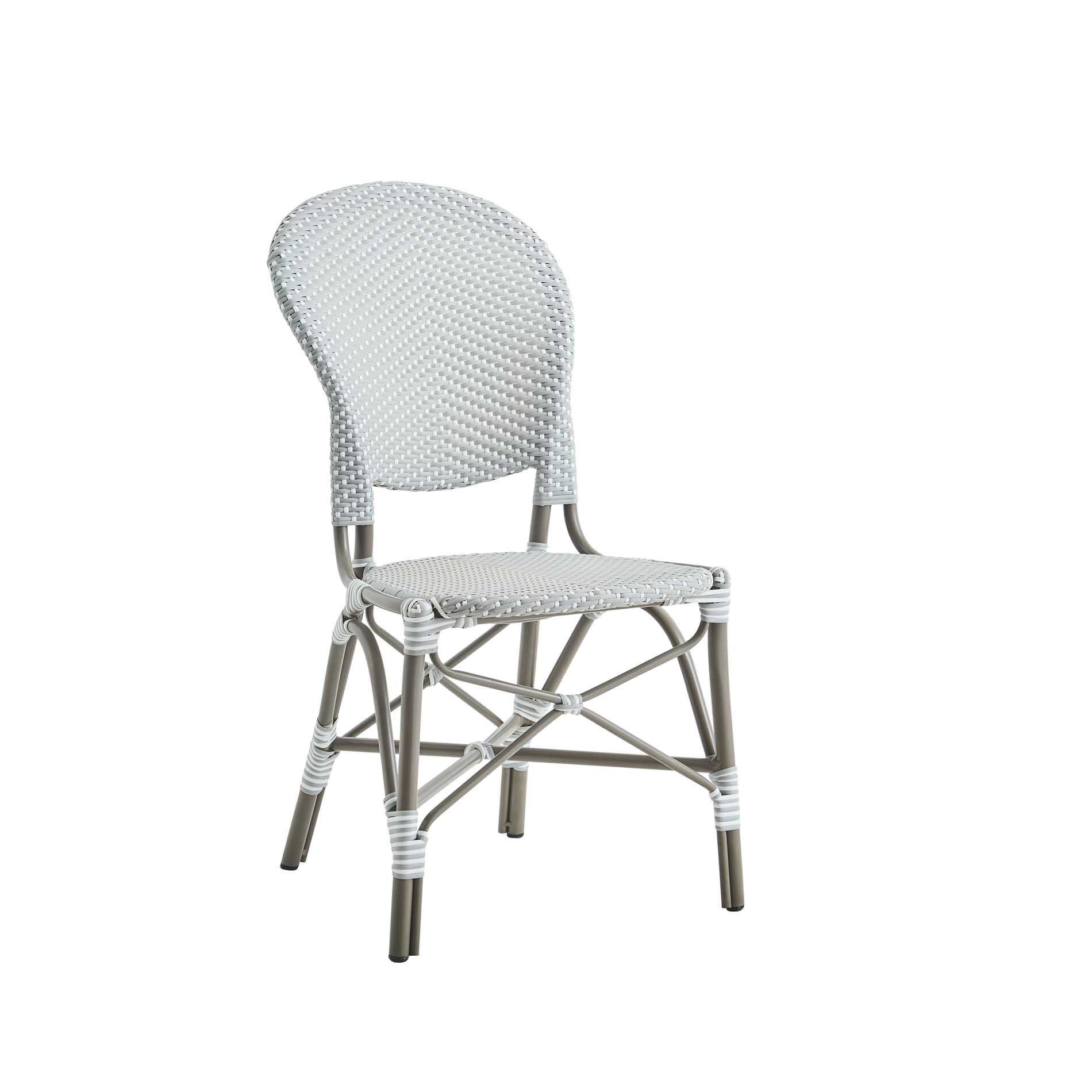 Chaise repas en aluminium et fibre synthétique grise