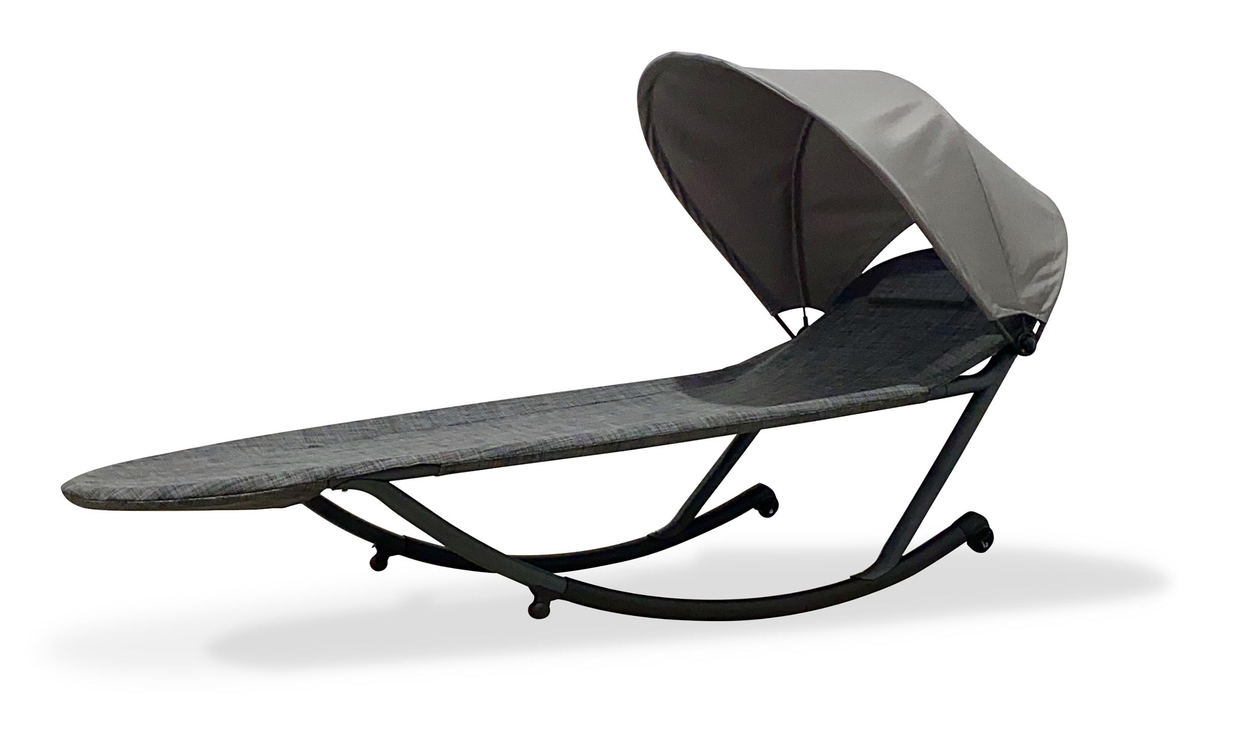 Chaise longue avec brise-soleil en en toile et acier gris anthracite
