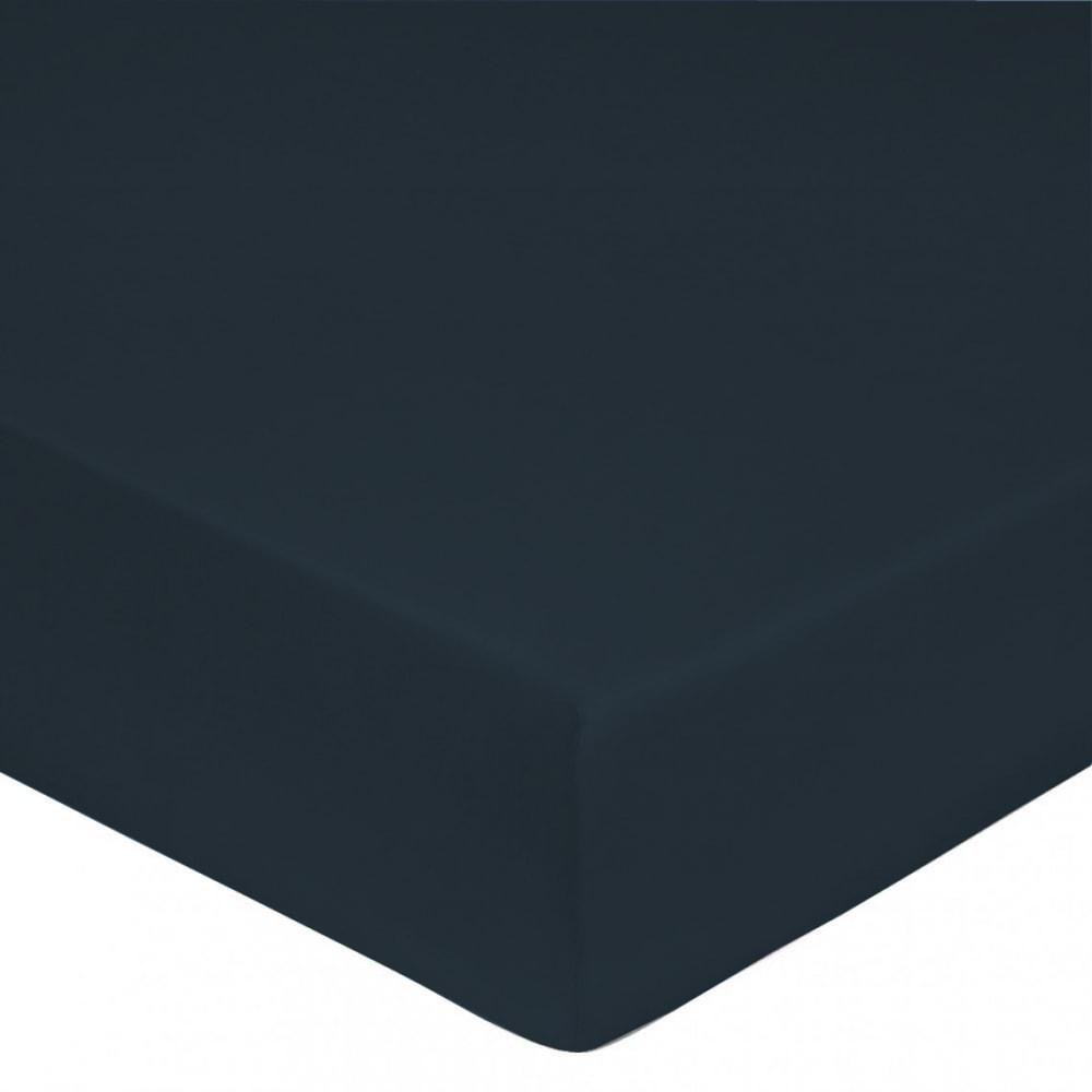 Drap housse satin de coton 90x190 cm bleu