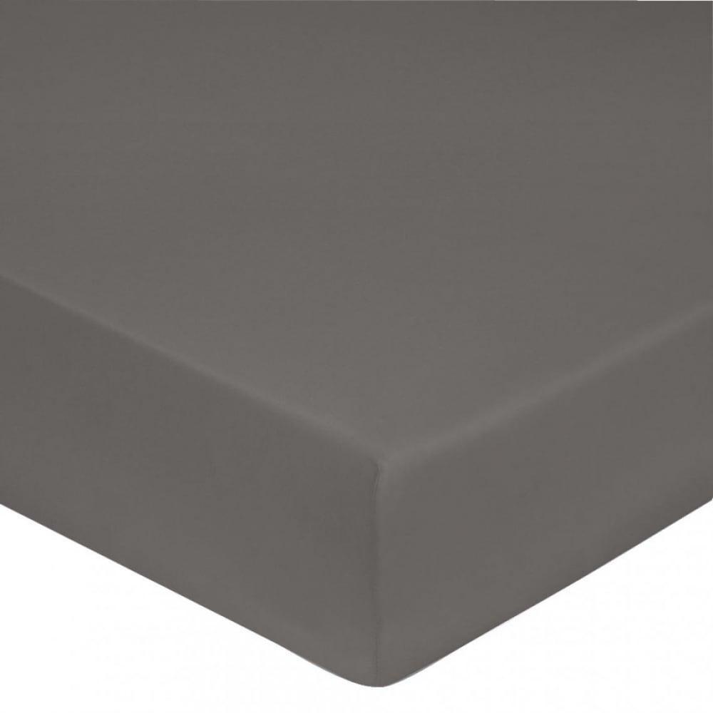 Drap housse satin de coton 140x190 cm gris