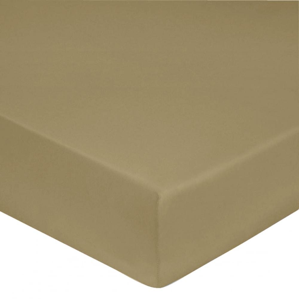 Drap housse satin de coton 140x190 cm beige