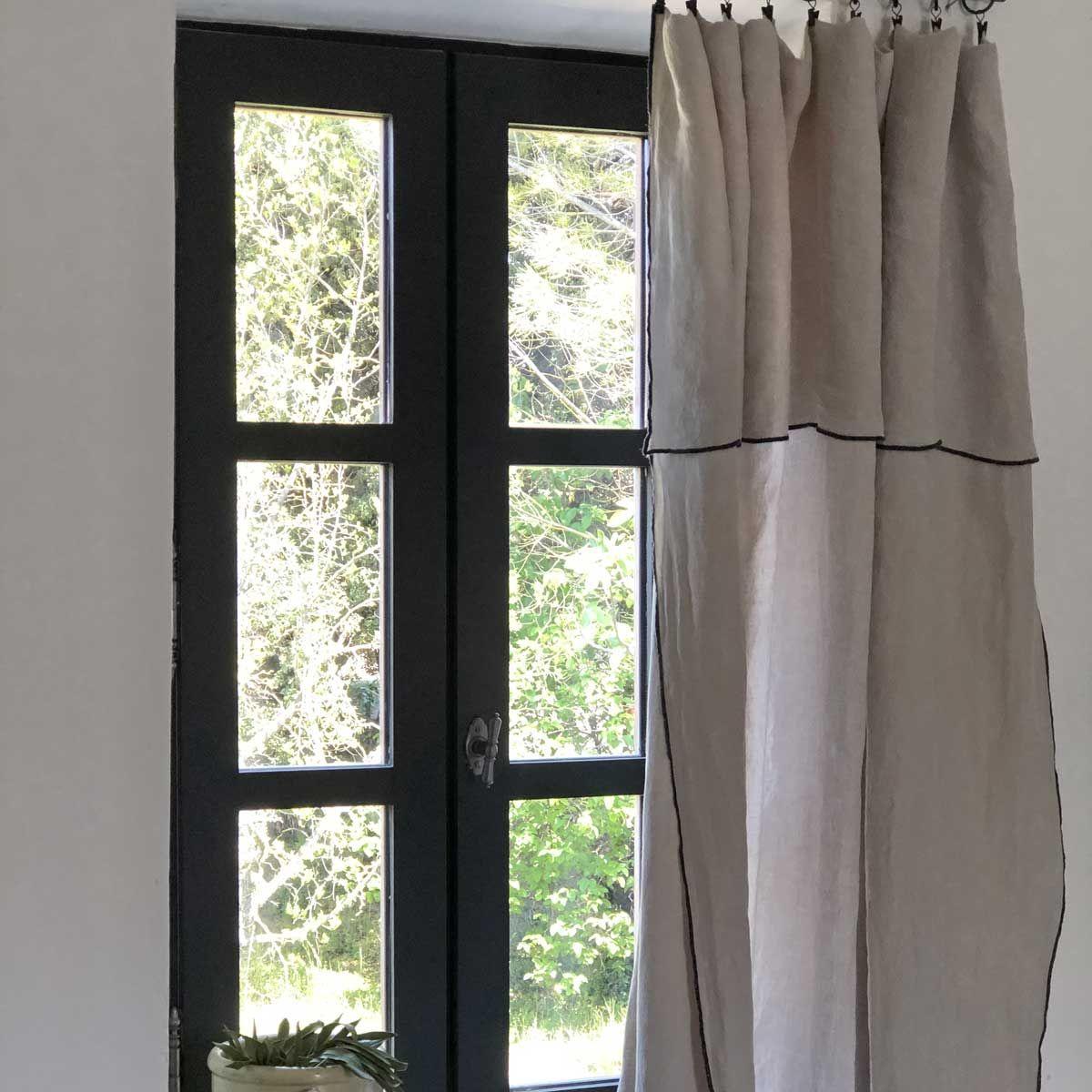 Nappe en lin lavé et surjet beige -   170 x 250