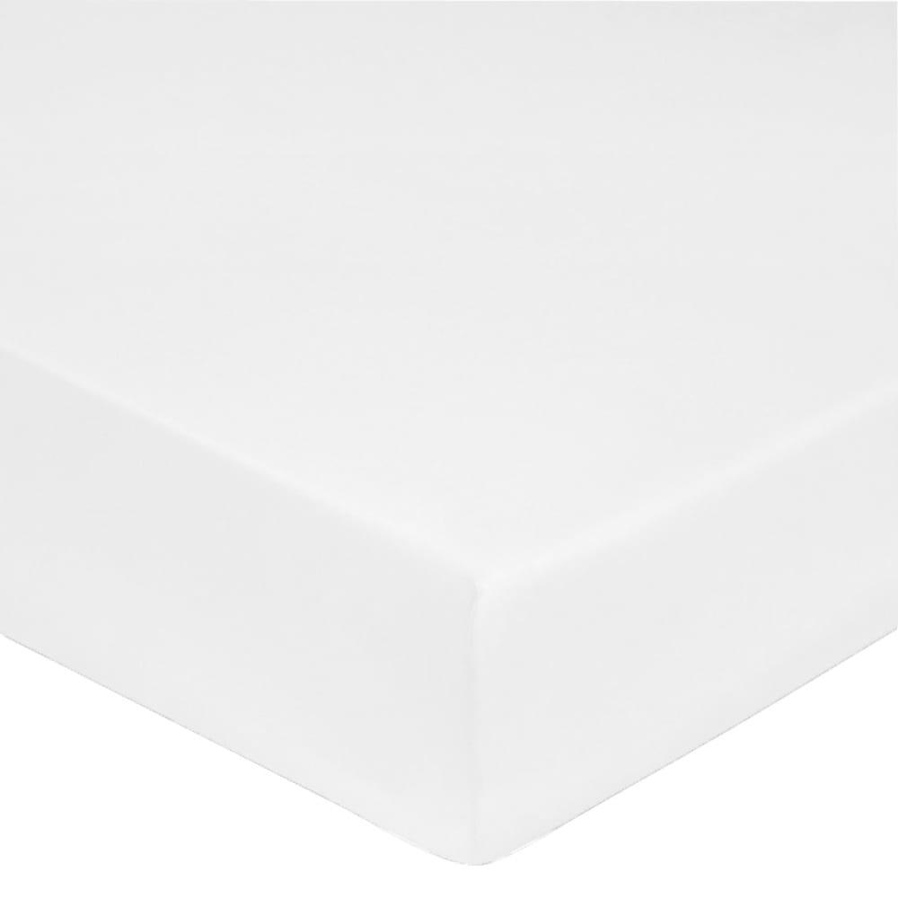 Drap housse satin de coton 180x200 cm blanc