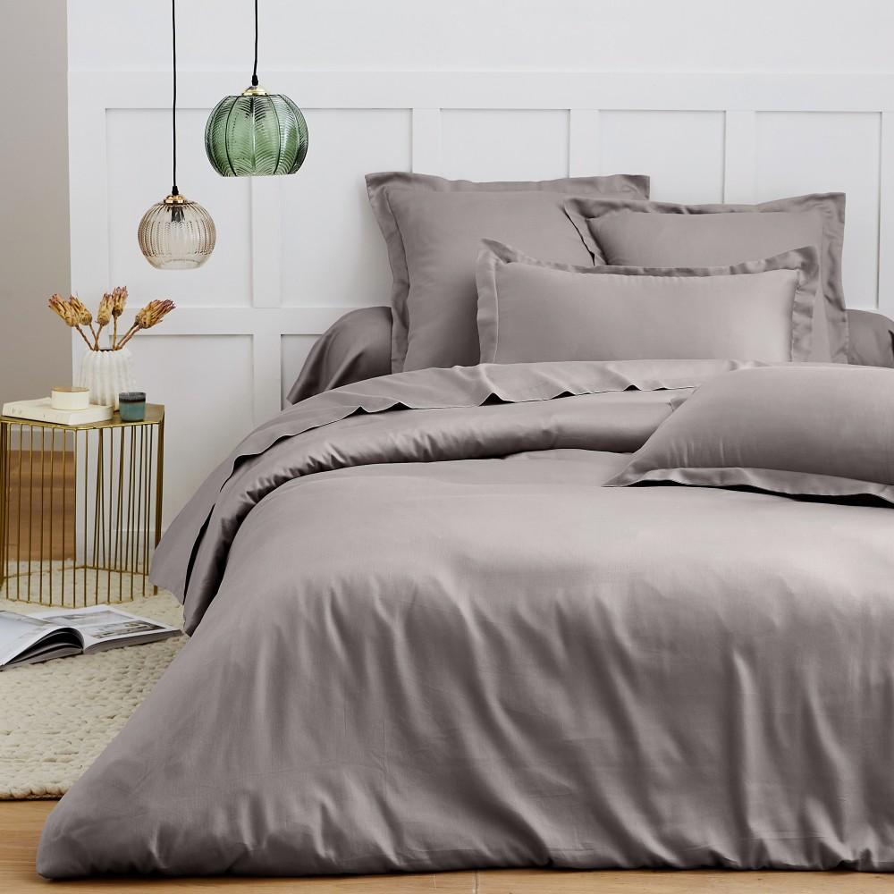 Drap plat satin de coton 270x300 cm gris