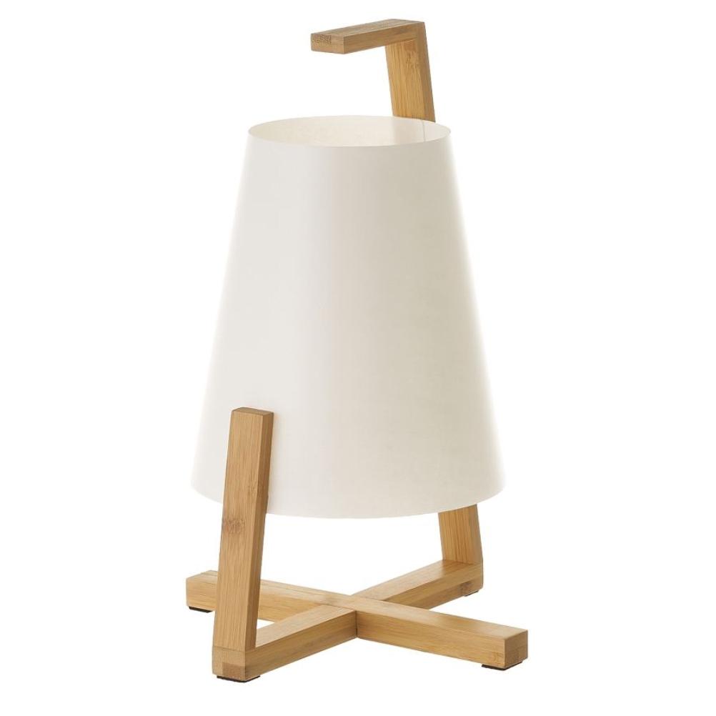 Petite lampe de table en bambou et abat-jour blanc H32cm