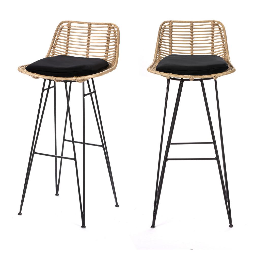 2 chaises de bar design en rotin 75cm