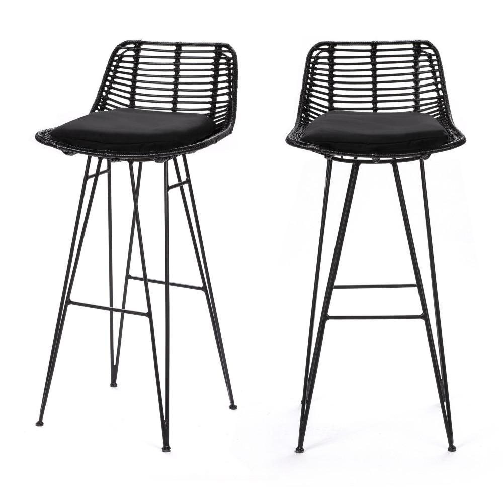 2 chaises de bar design en rotin 75cm noir