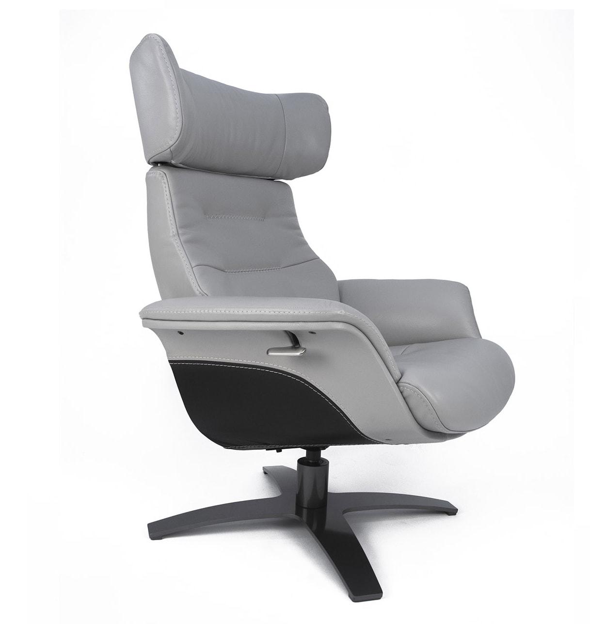 Fauteuil relax bicolore cuir gris et noir