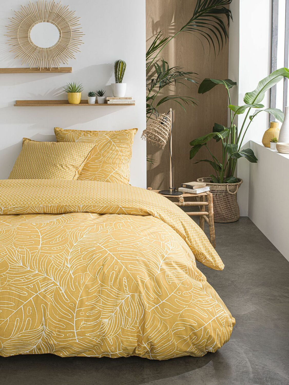 Parure de lit 2 personnes imprimé floral en Coton Jaune 240x260 cm