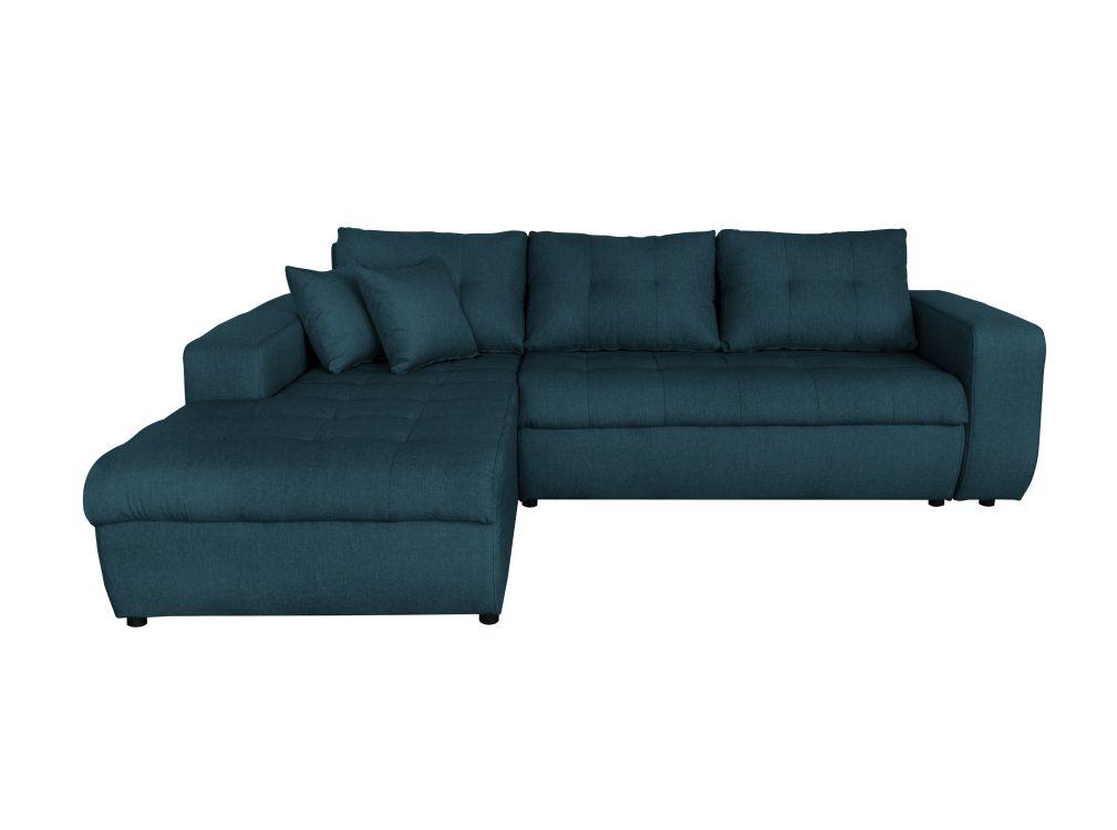 Canapé d'angle gauche convertible en tissu bleu pétrole