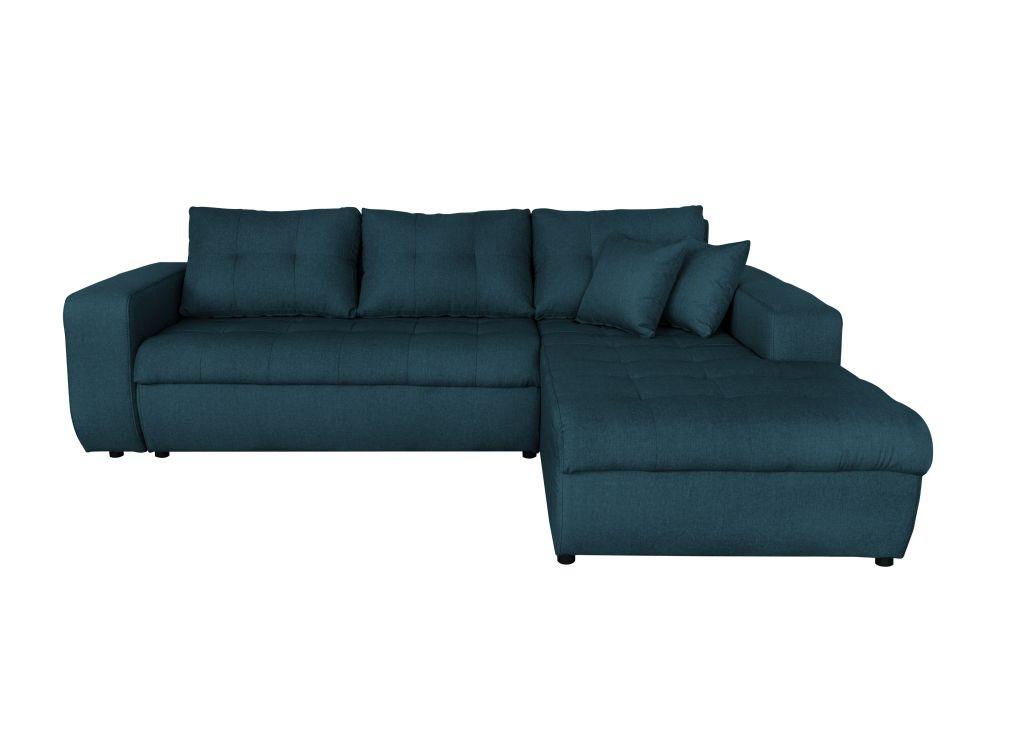 Canapé d'angle 4 places Bleu Tissu Moderne Confort