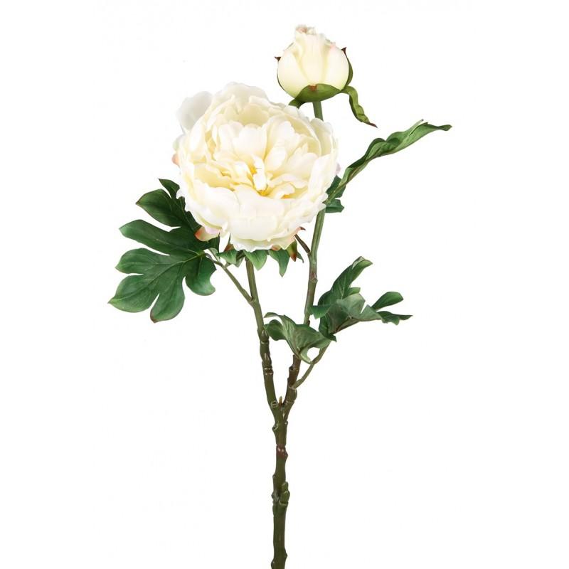 3 branches pivoines blanches artificielles 69cm
