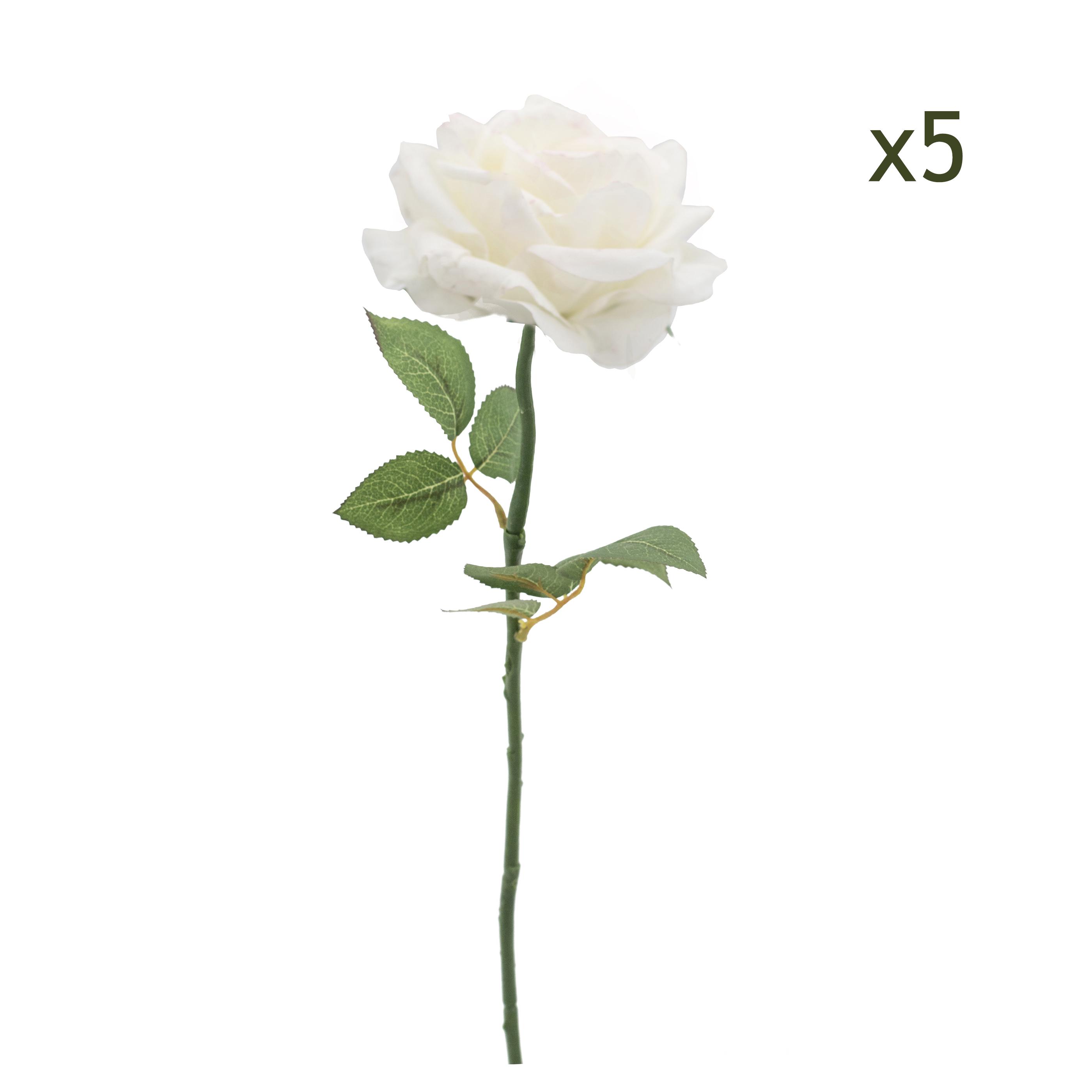 5 tiges de Roses blanches artificielles 50cm