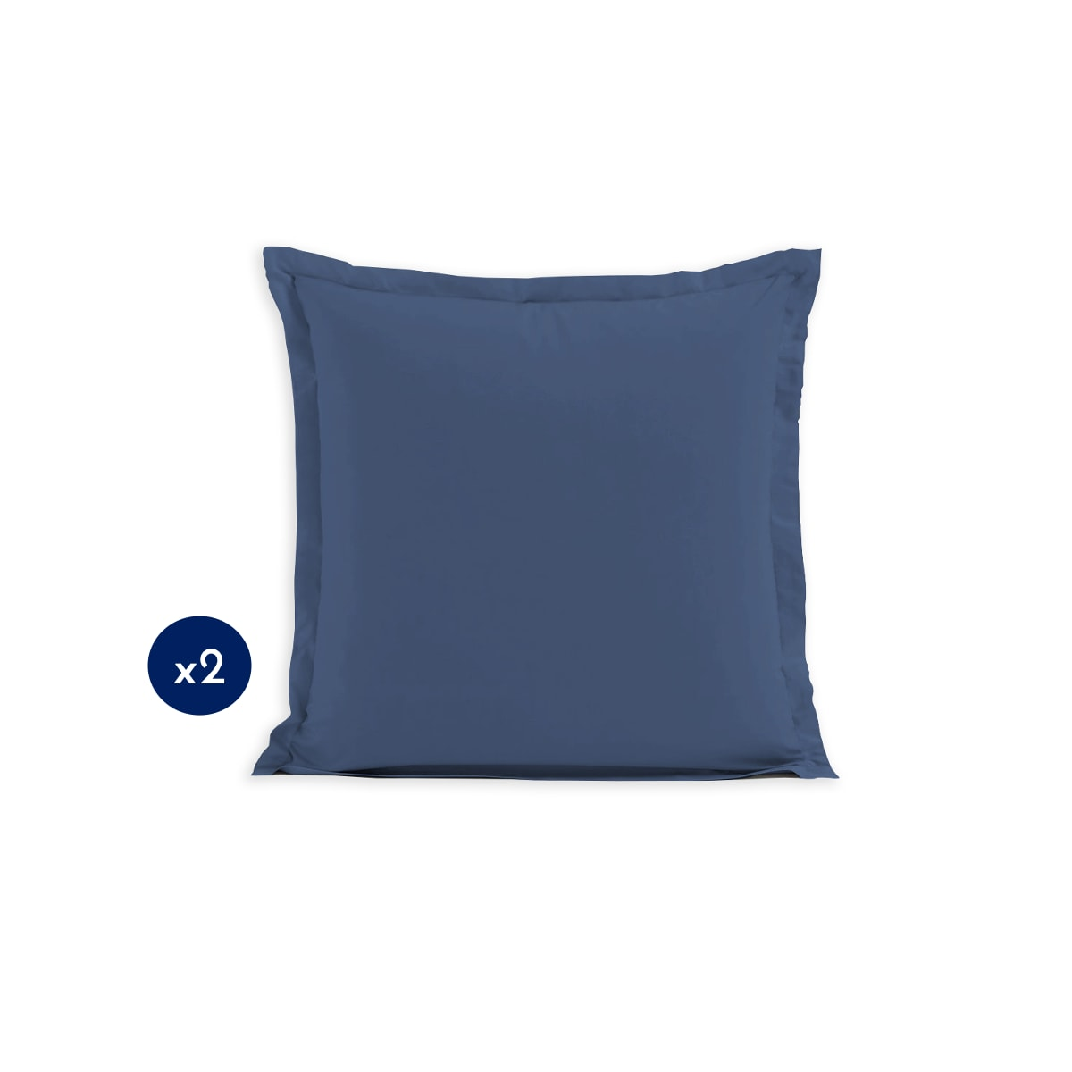 Lot de 2 taies carrées 100% Coton Bleu 63x63cm