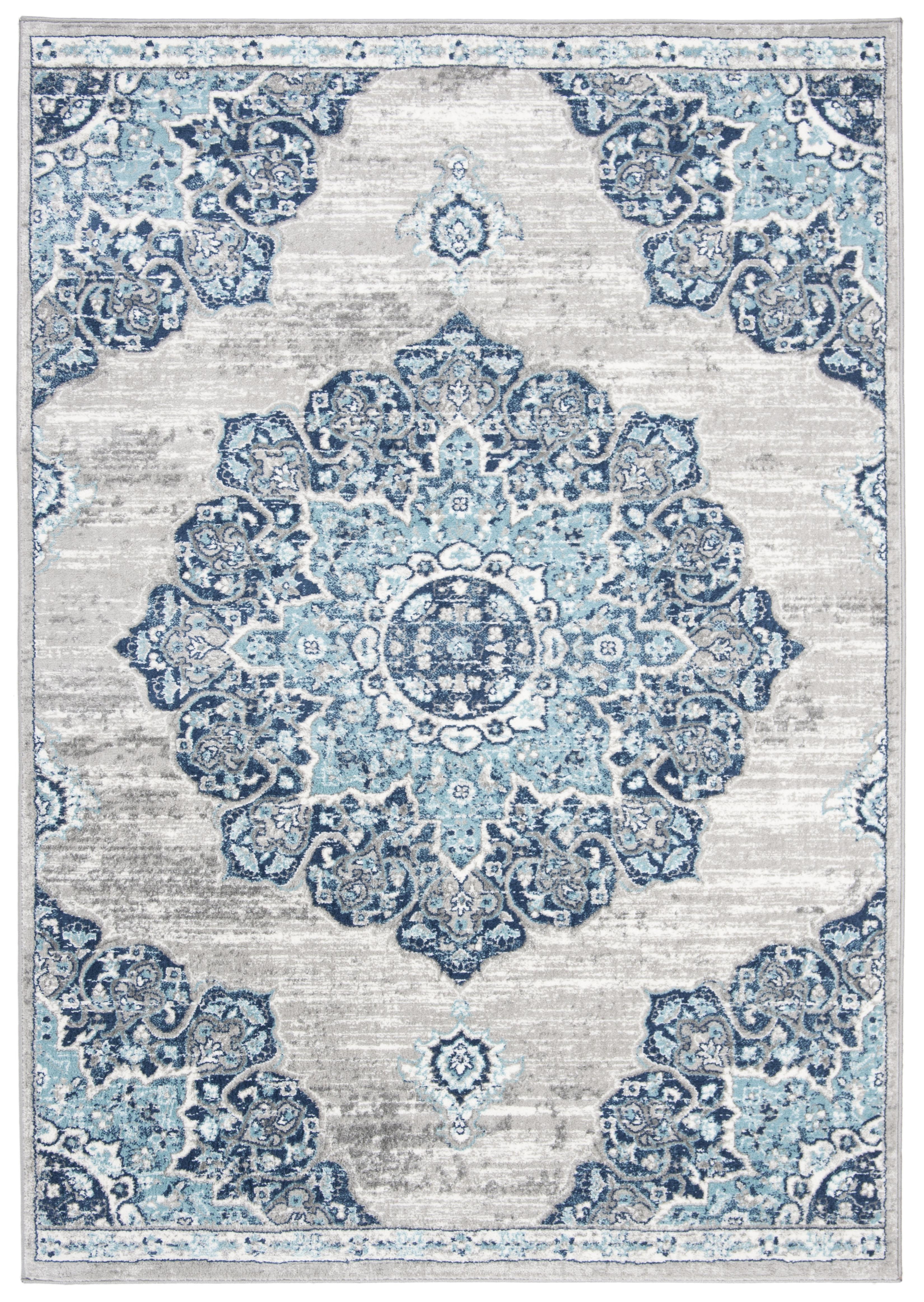 Tapis de salon classique bleu marine et gris 120x180