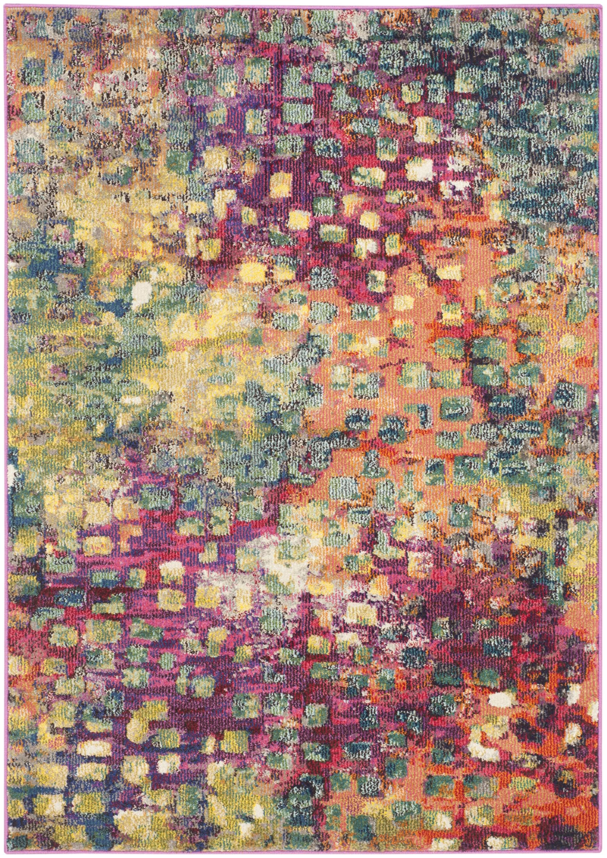 Tapis de salon boho  rose et multicolore 90x150