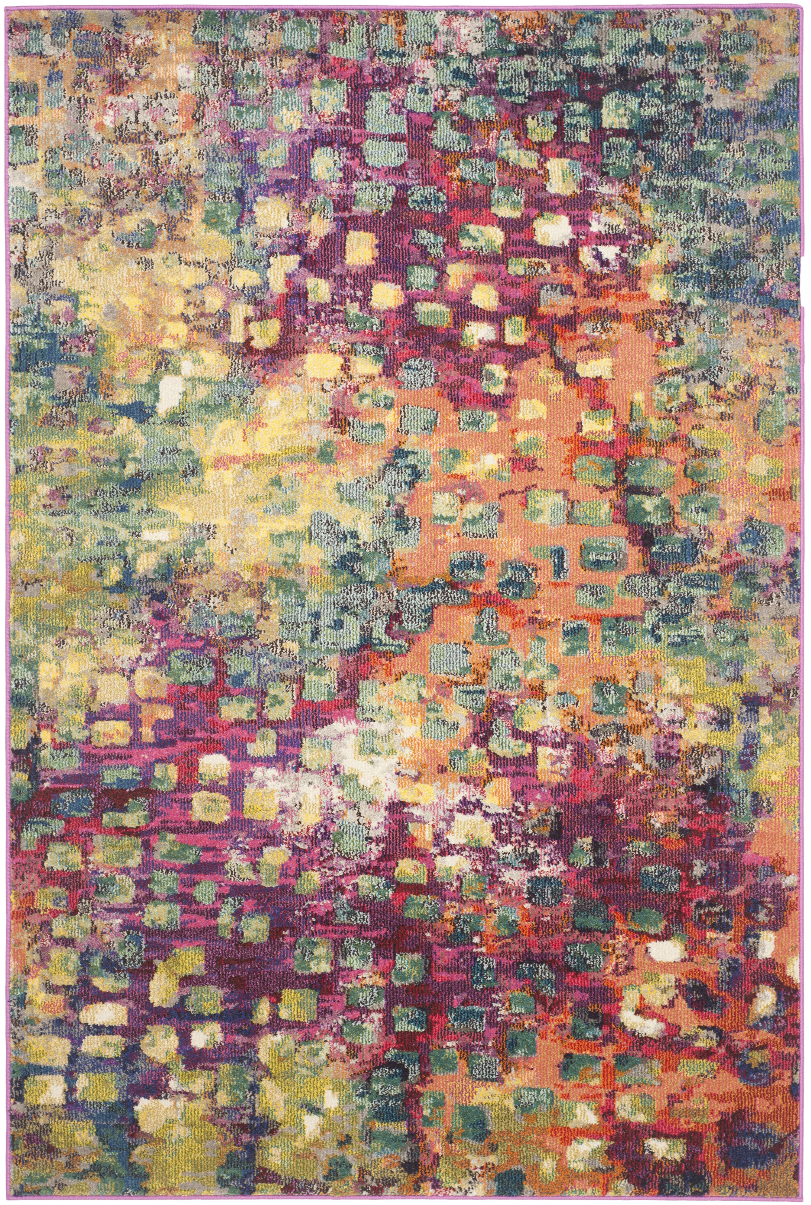 Tapis de salon boho  rose et multicolore 160x230