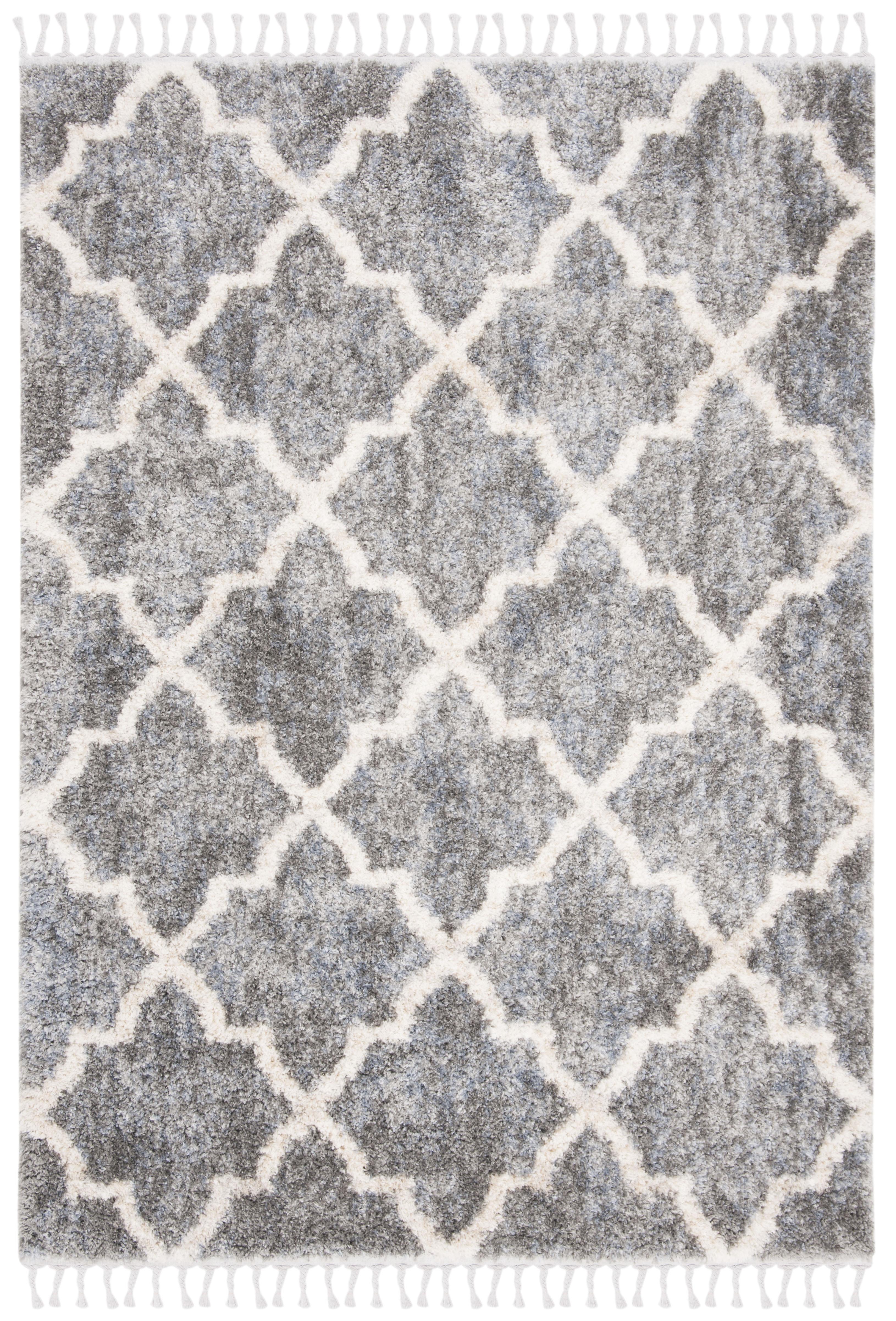 Tapis de salon shaggy gris et crème 160x230