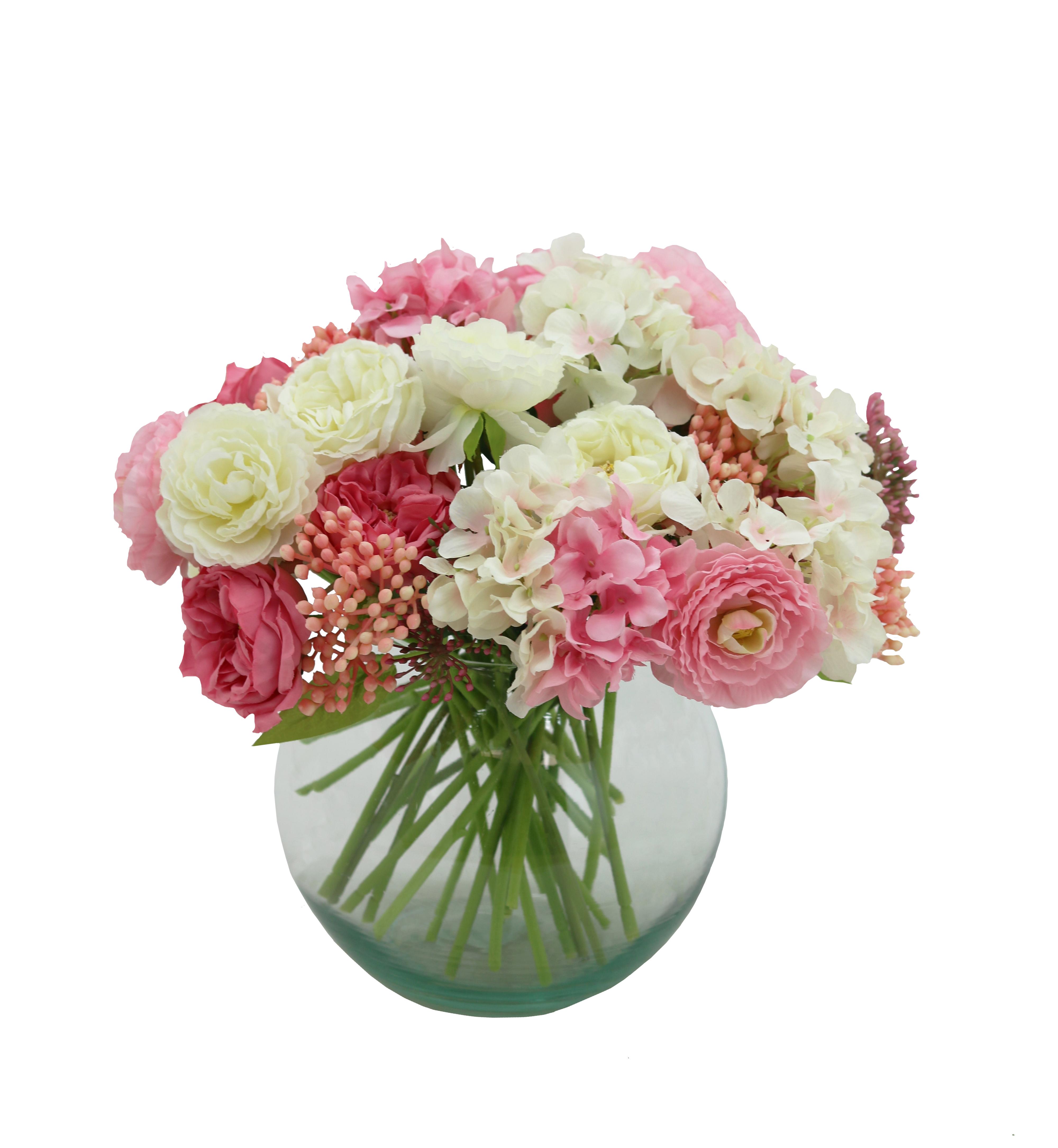Bouquet champêtre artificiel de 36 tiges de fleurs blanches+roses 25cm