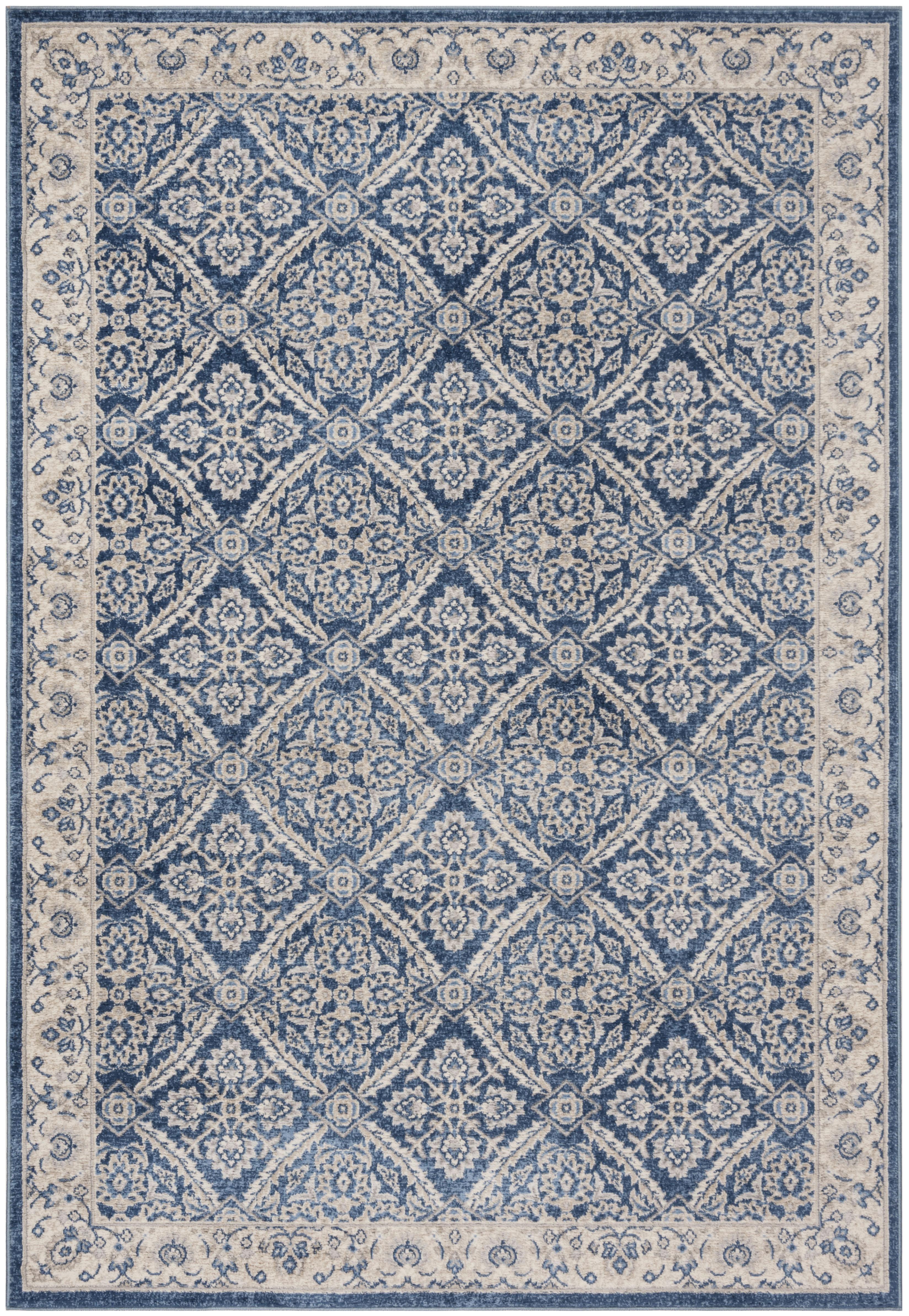 Tapis de salon classique bleu marine et crème 160x230