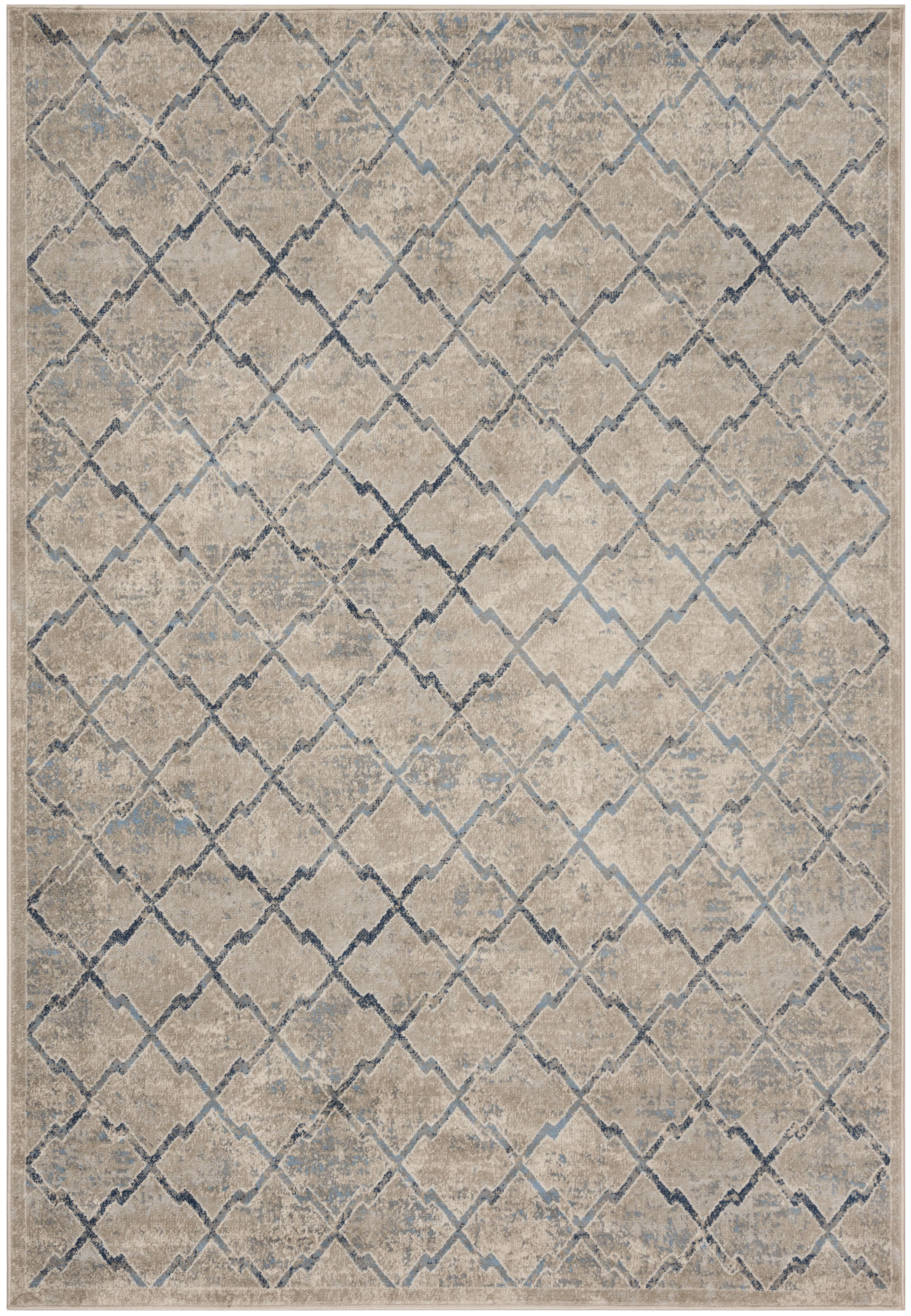 Tapis de salon classique gris clair et bleu 200x300