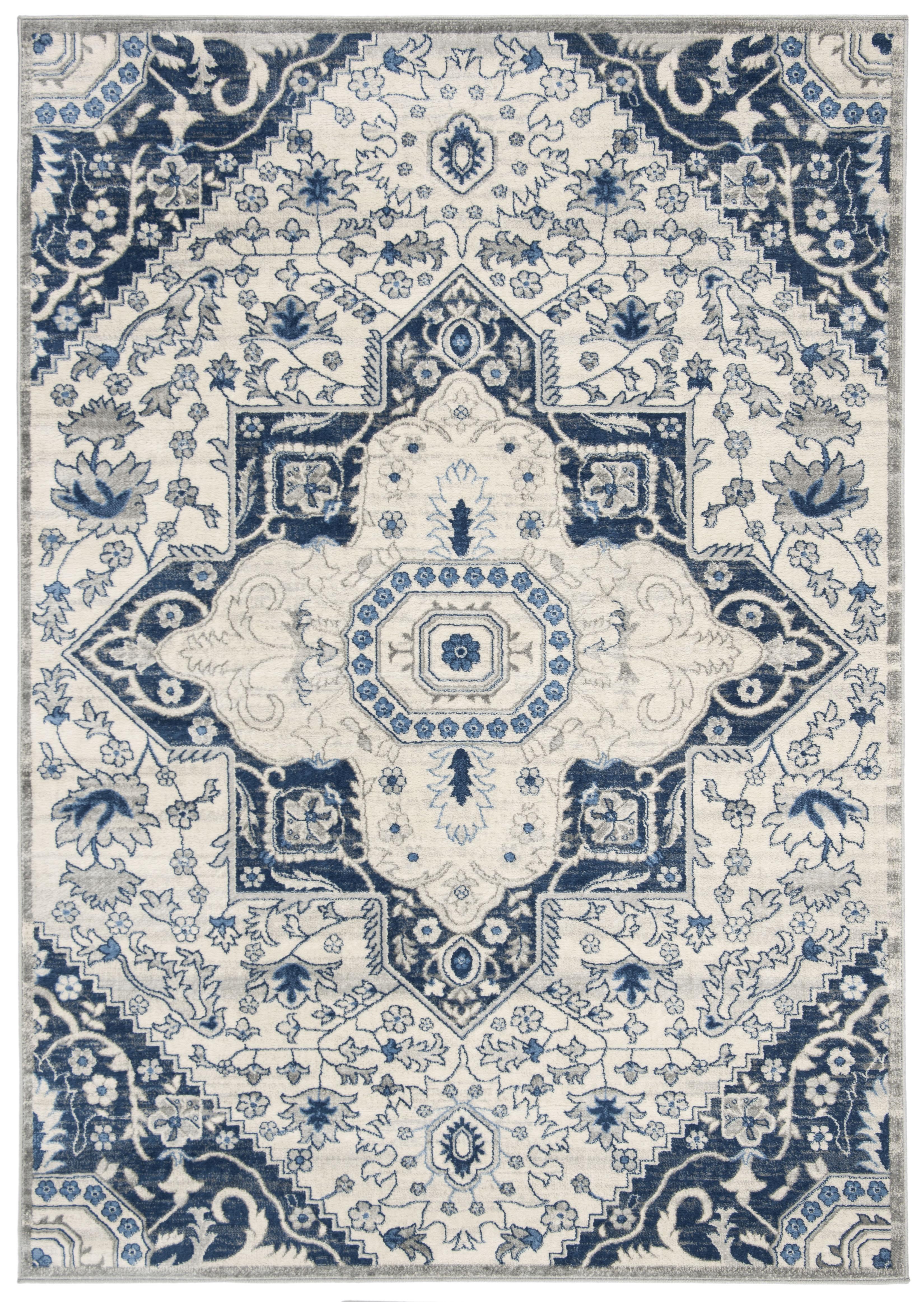 Tapis de salon classique crème et bleu 120x180