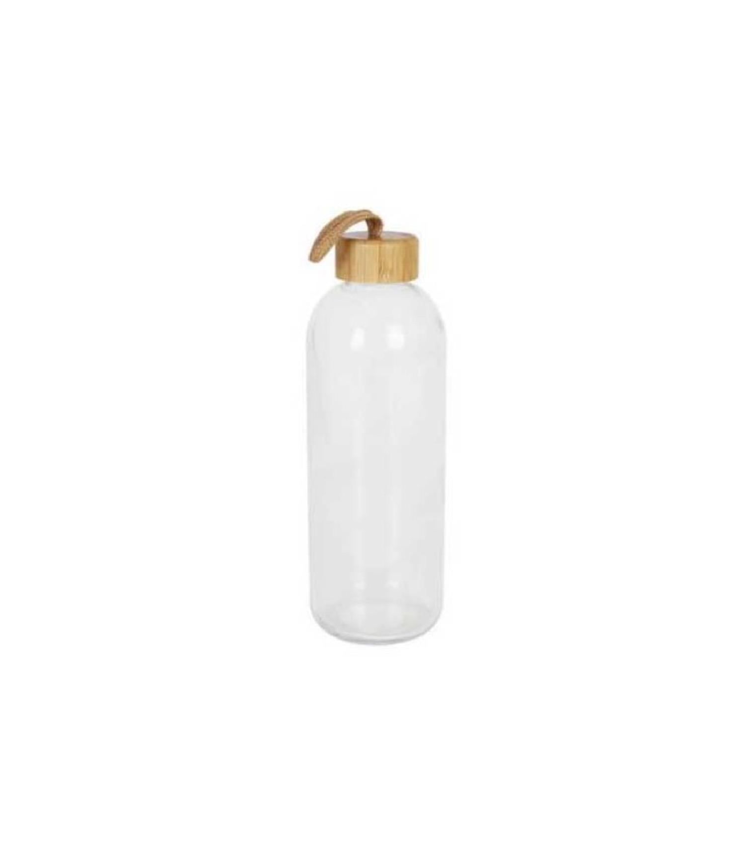 Bouteille d'eau en verre réutilisable bouchon bambou 1L