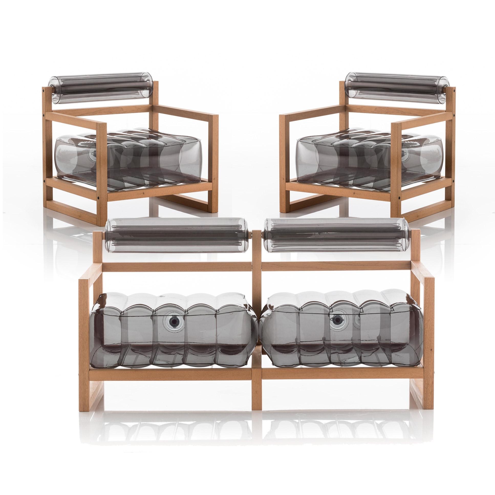 Salon de jardin design, 1 canapé et 2 fauteuils noirs