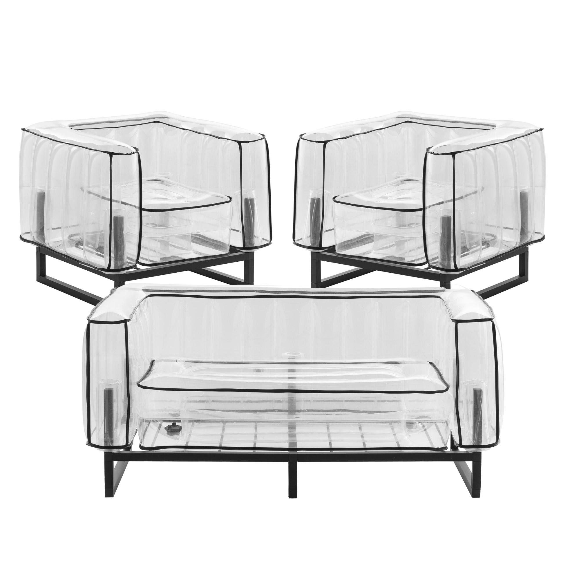 Salon de jardin design, 1 canapé et 2 fauteuils Passepoil noir