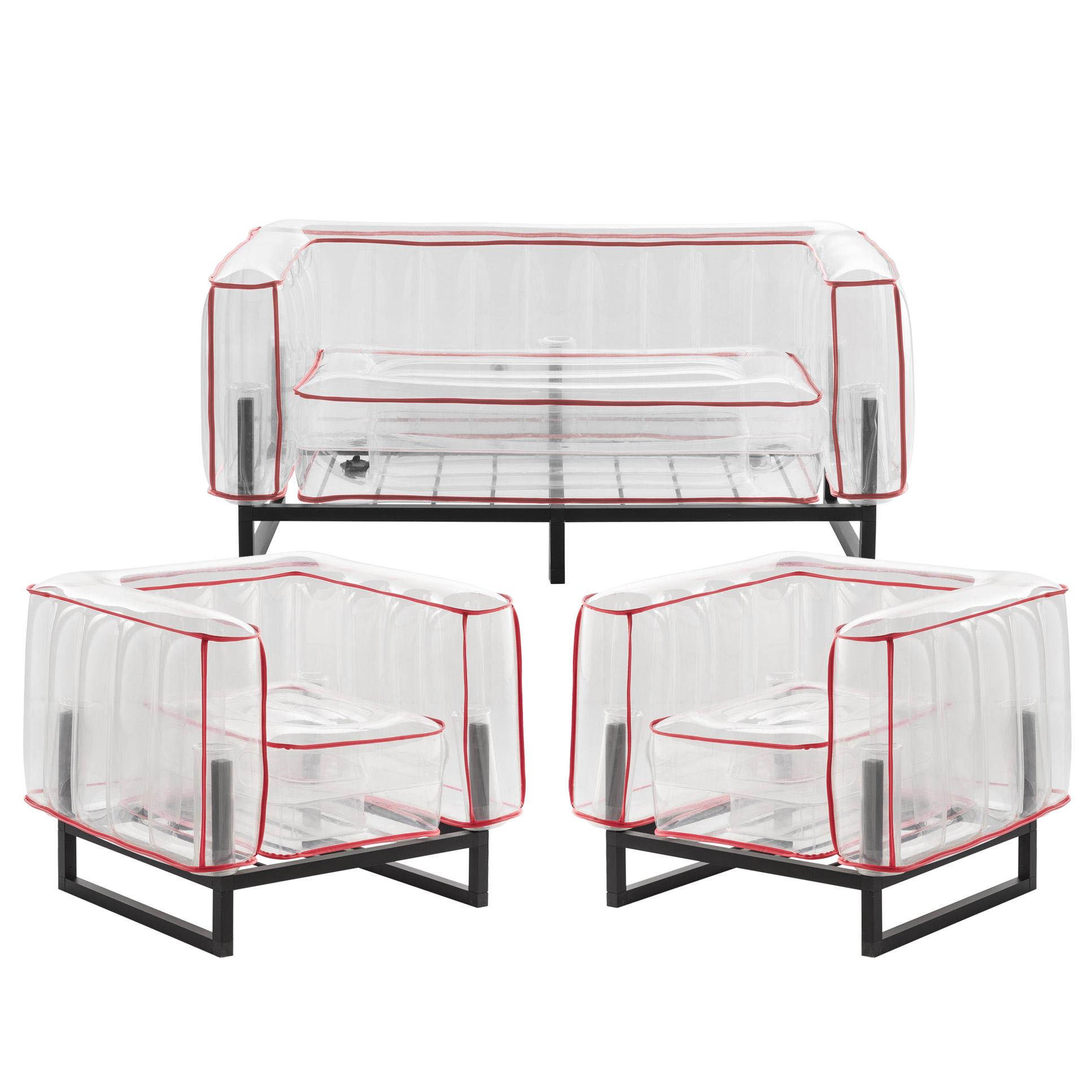 Salon de jardin design, 1 canapé et 2 fauteuils Passepoil rouge