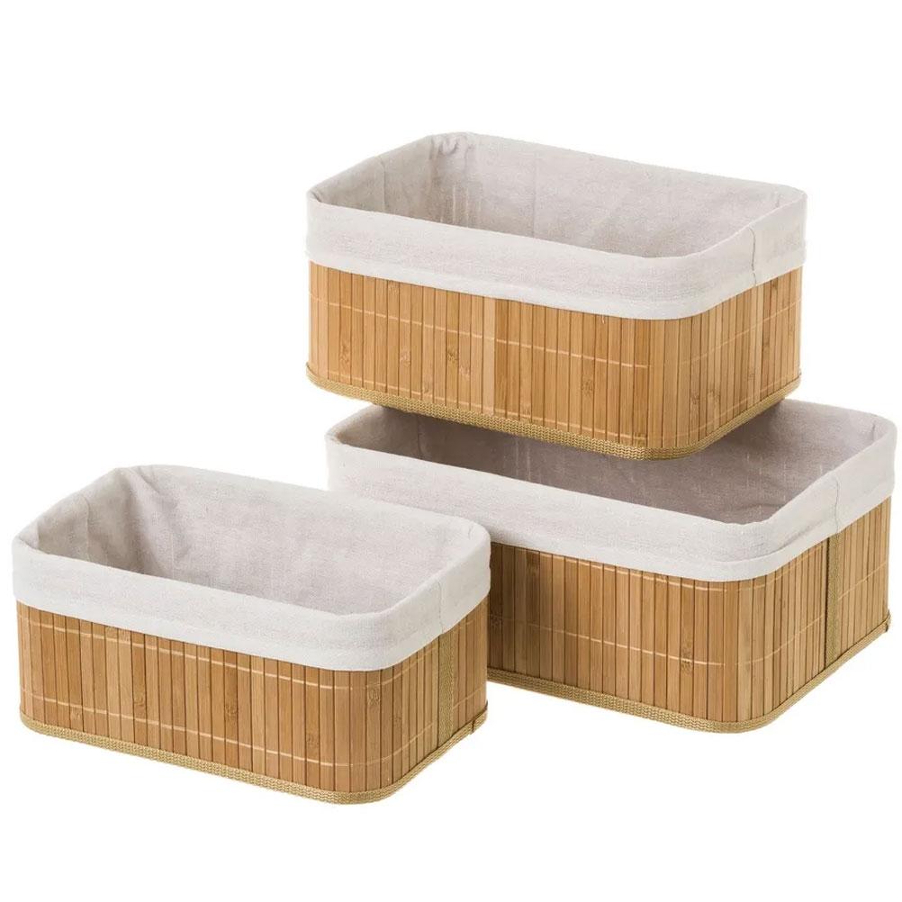 Lot de 3 boites de rangement en bambou