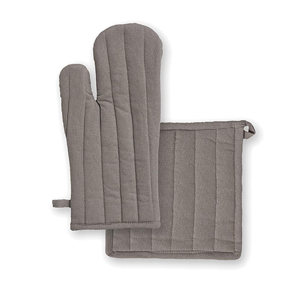 Ensemble gant et manique en coton mastic unis