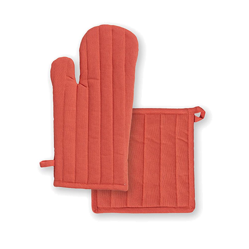 Ensemble gant et manique en coton corail unis