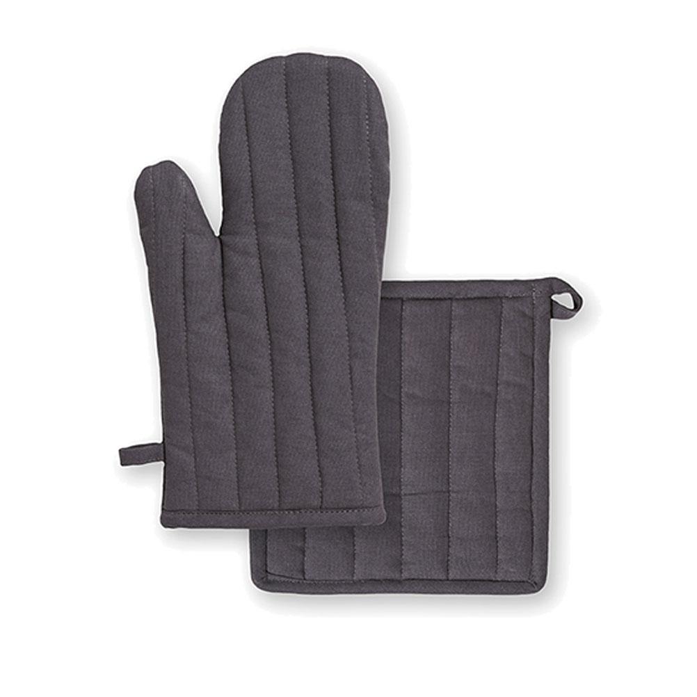 Ensemble gant et manique en coton gris unis