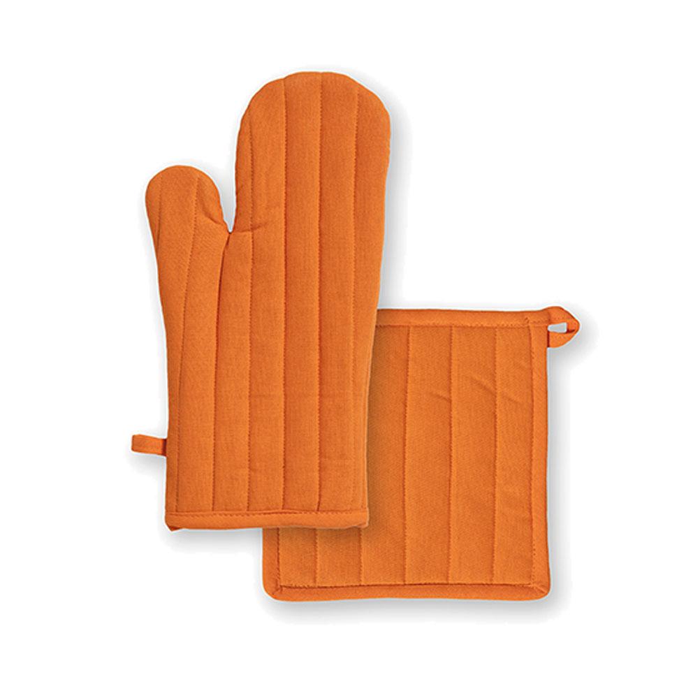 Ensemble gant et manique en coton orange unis