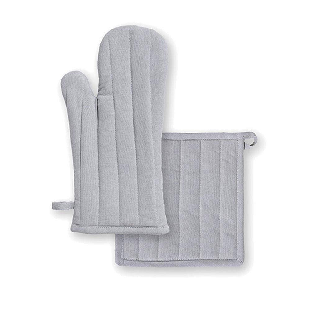 Ensemble gant et manique en coton zinc unis
