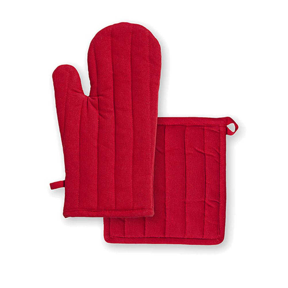 Ensemble gant et manique en coton rouge unis