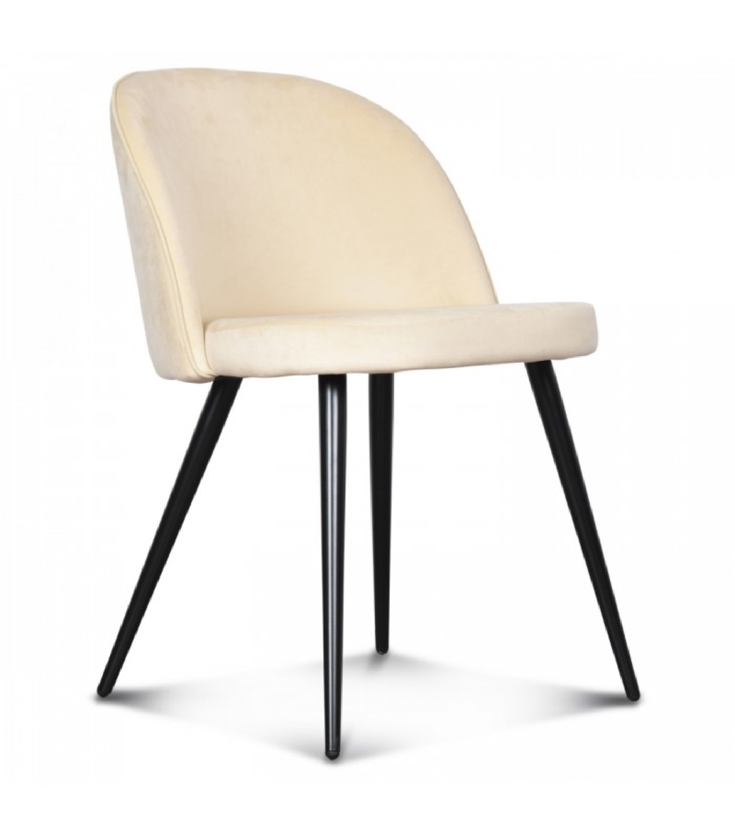 Chaise velours beige et pieds métal noir
